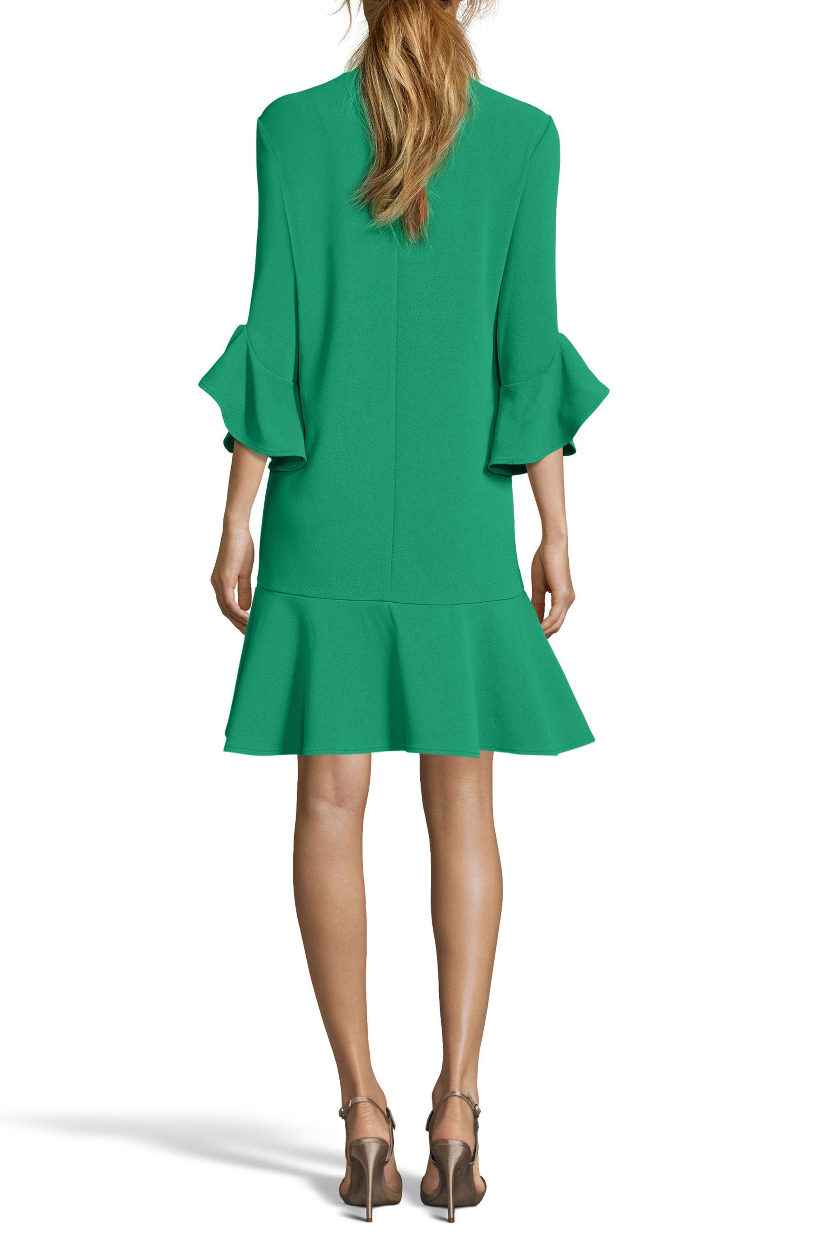 Ruffle Bell Sleeve Shift Dress,                             Alternate thumbnail 6, color,