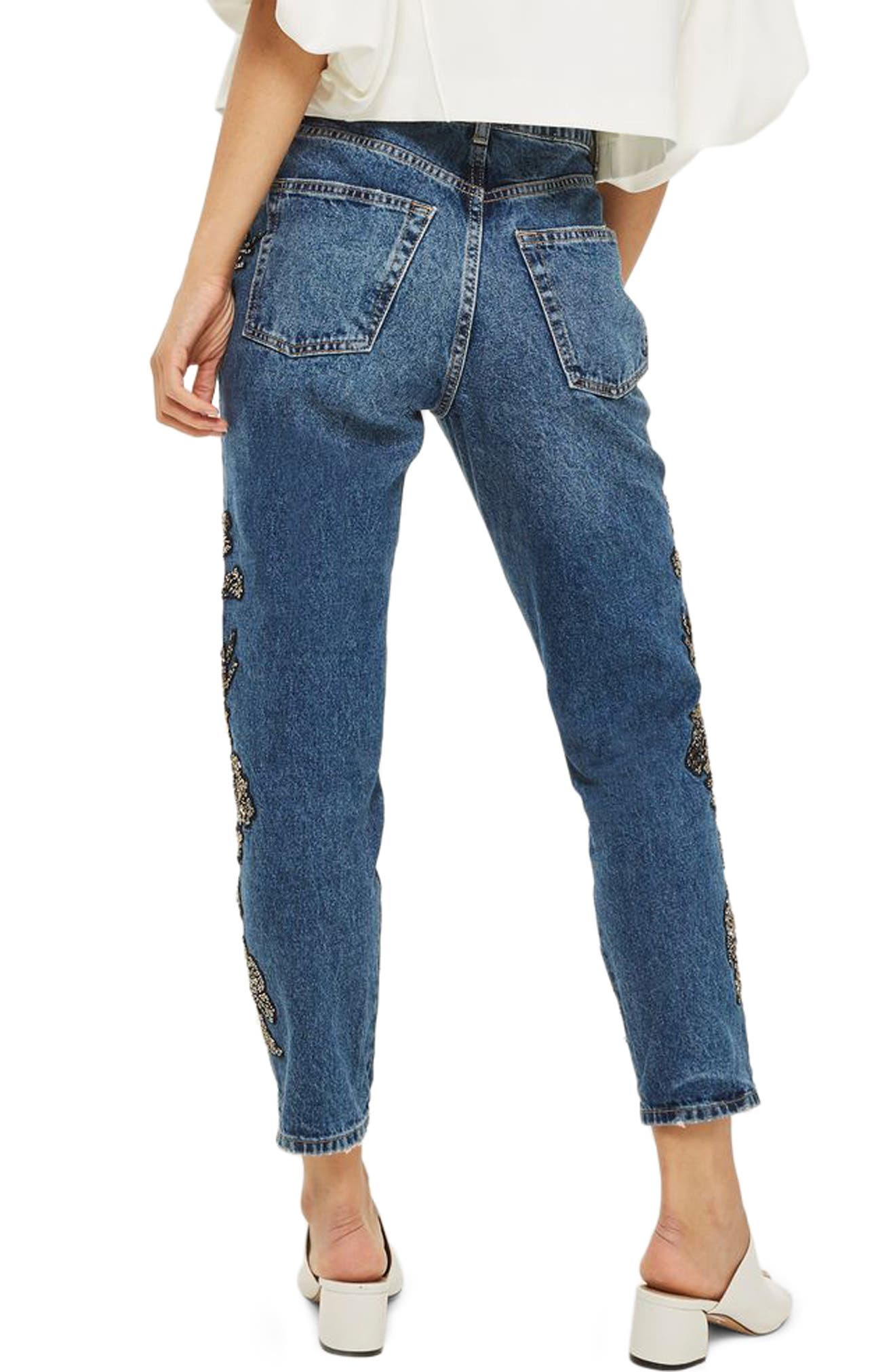 English Flower Embellished Mom Jeans,                             Alternate thumbnail 2, color,