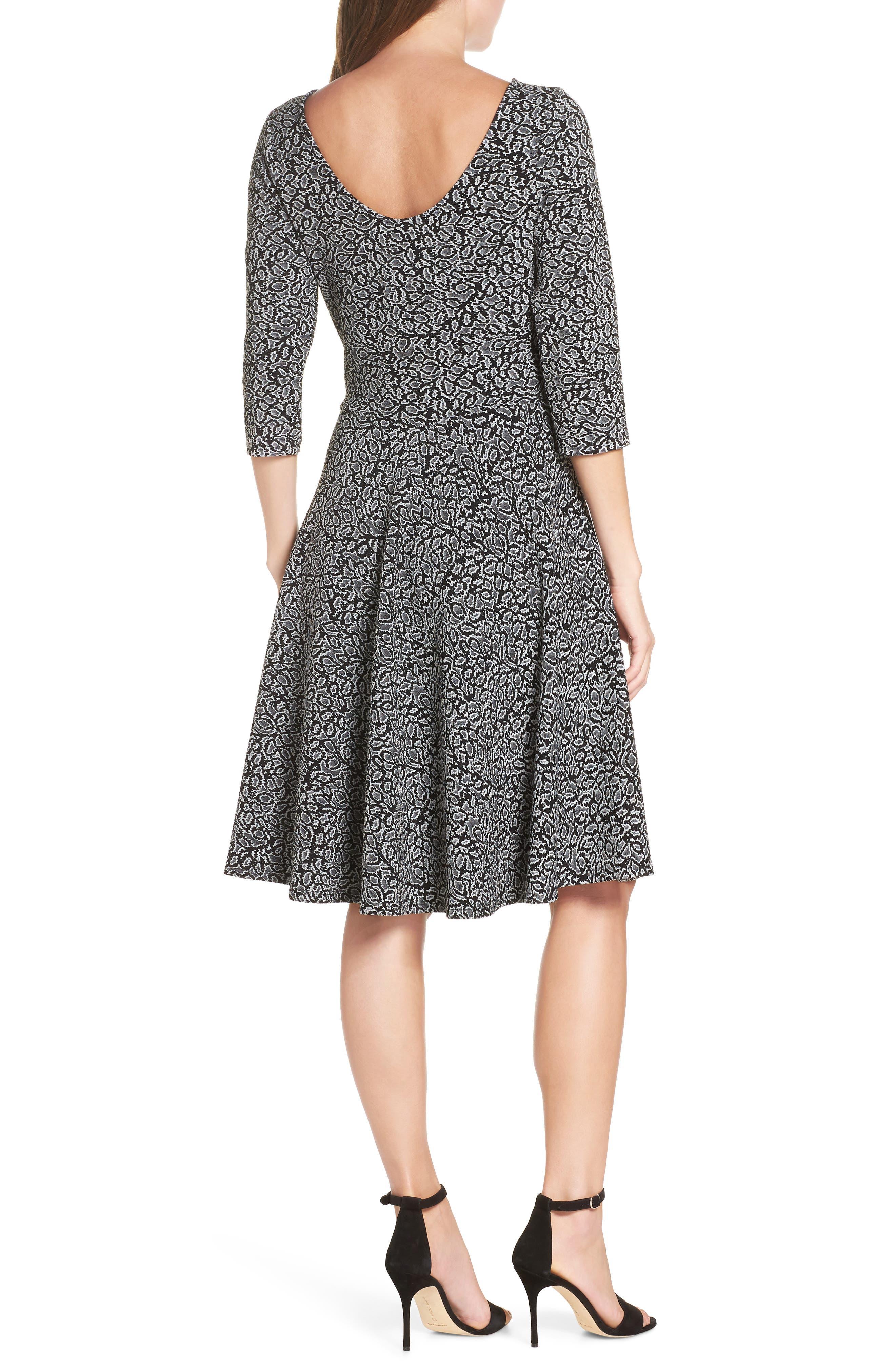 Circle Knit Fit & Flare Dress,                             Alternate thumbnail 2, color,                             013
