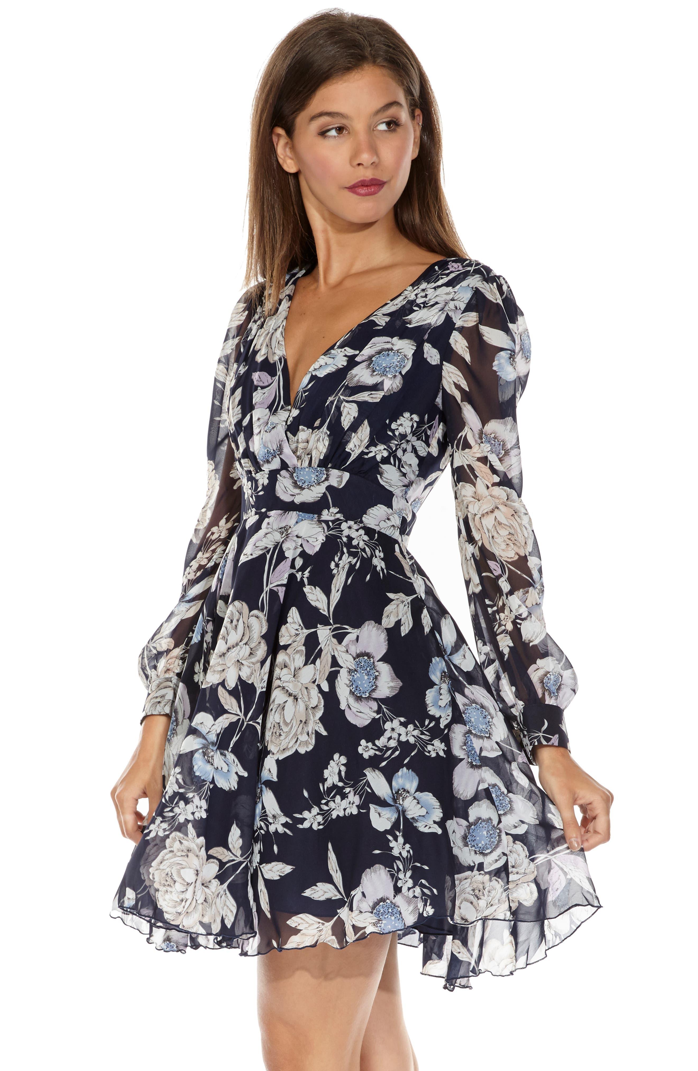 Nordi Floral Fit & Flare Party Dress,                             Alternate thumbnail 4, color,                             FLORAL PRINT