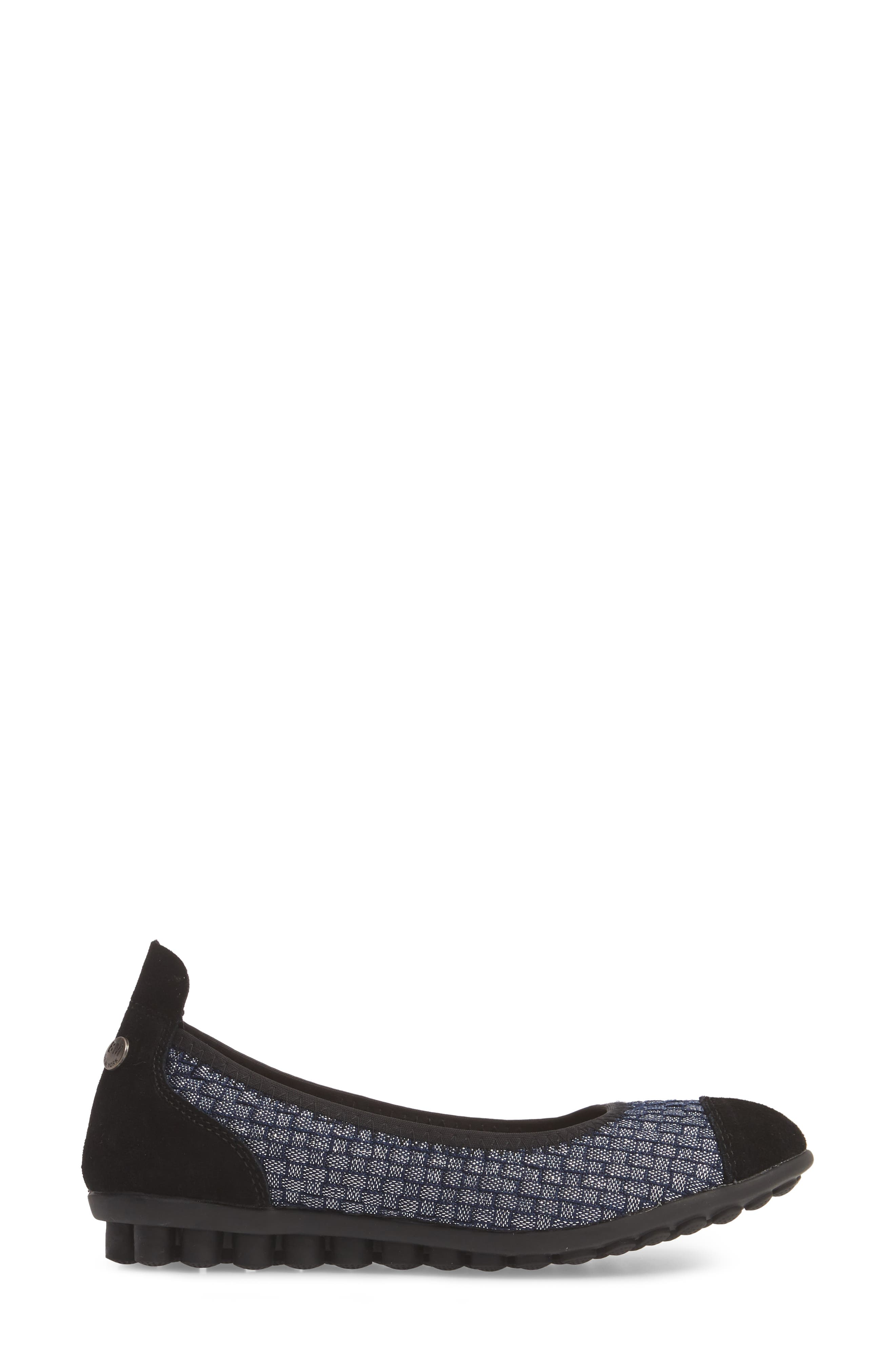 'Bella Me' Woven Flat,                             Alternate thumbnail 3, color,                             NAVY SHIMMER FABRIC