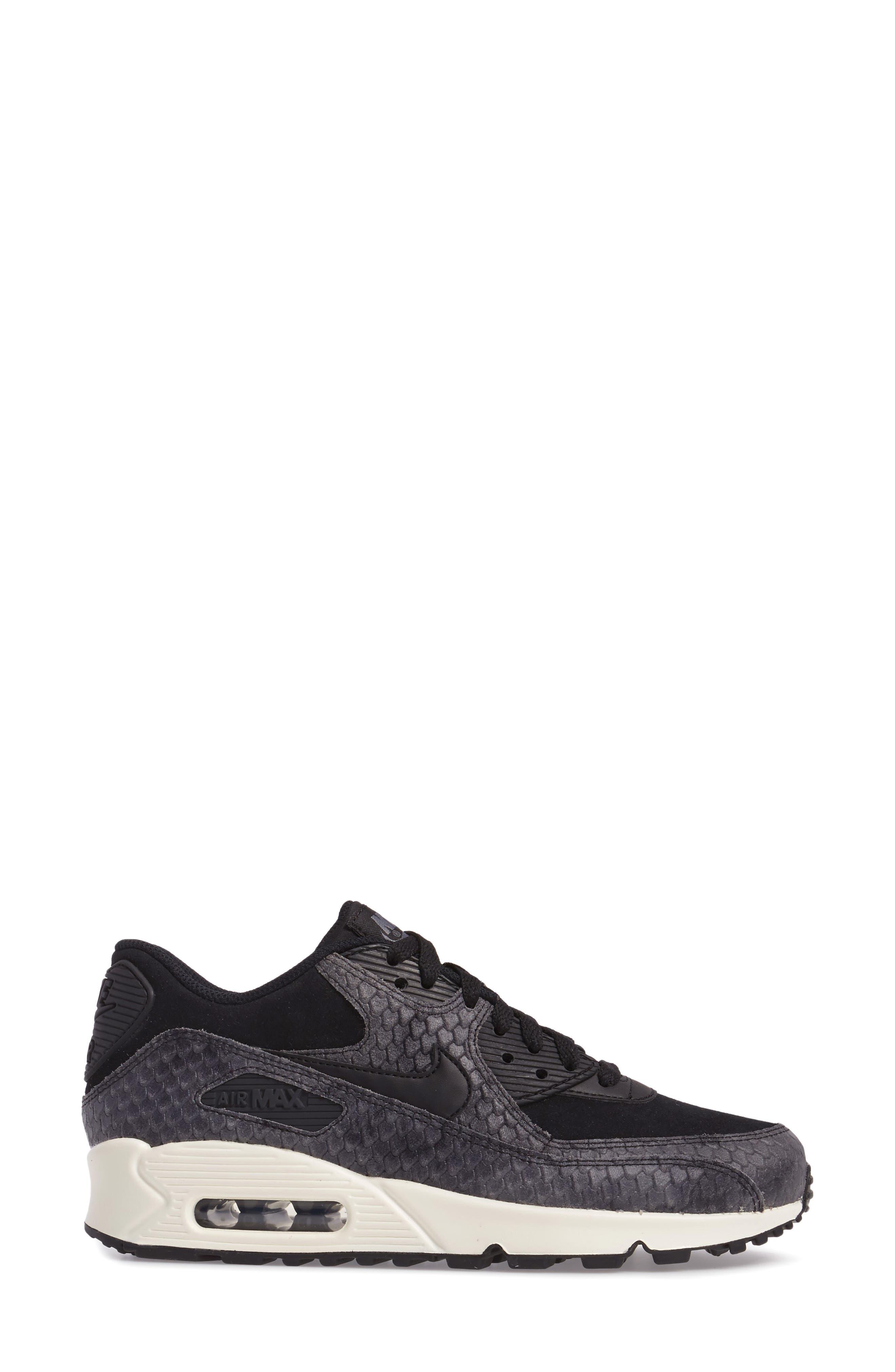 Air Max 90 Embossed Premium Sneaker,                             Alternate thumbnail 3, color,                             005