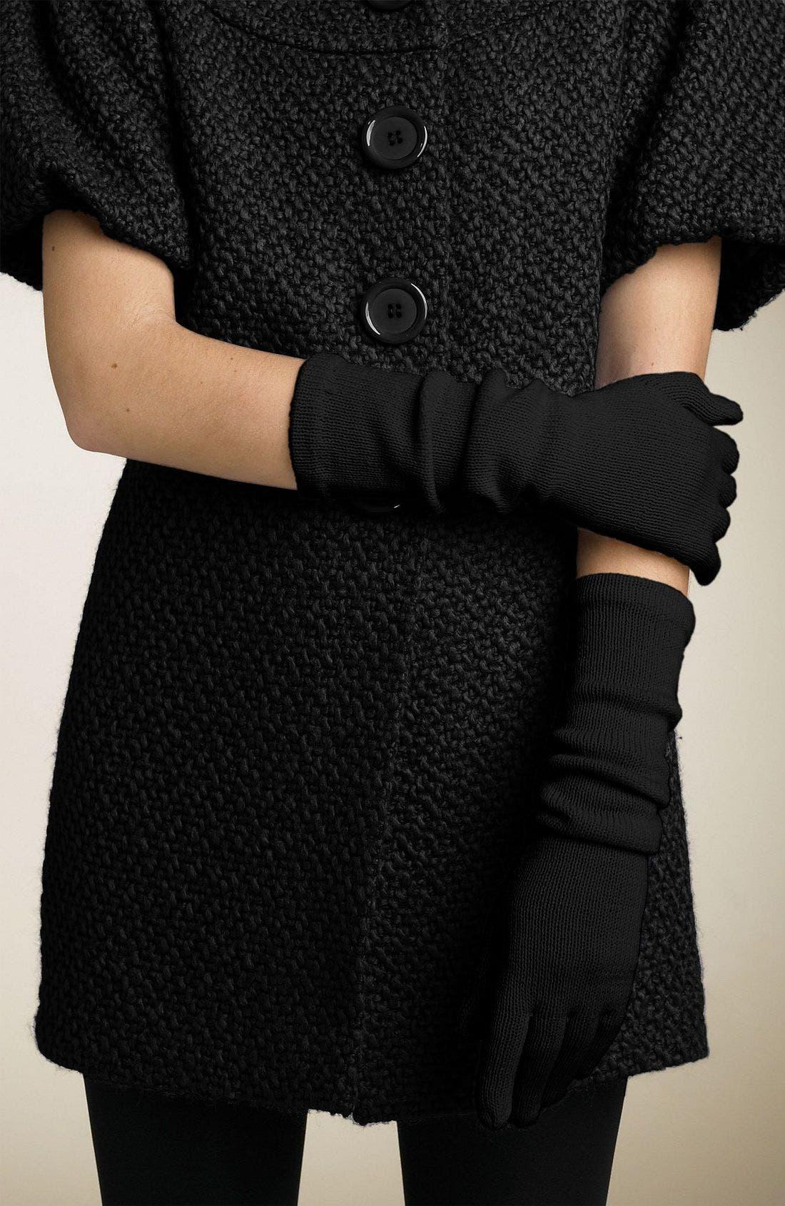 BP.,                             Long Knit Gloves,                             Main thumbnail 1, color,                             BLK