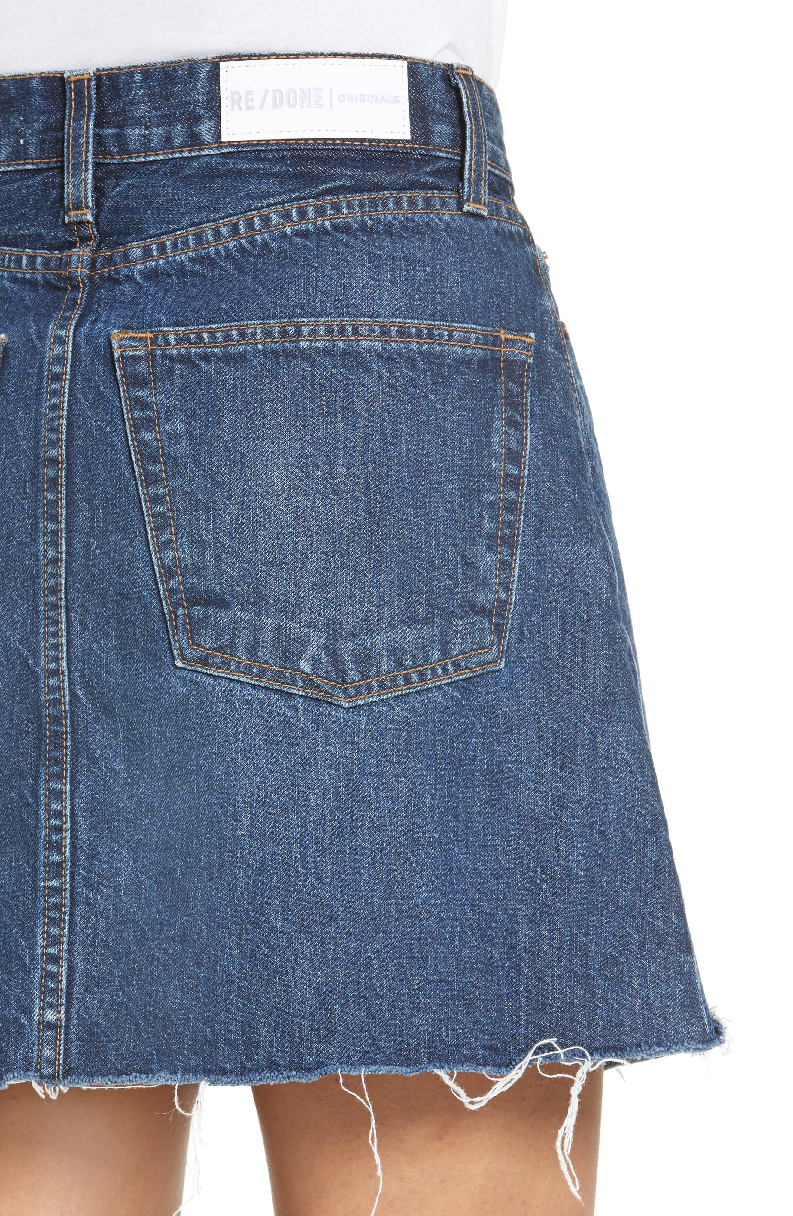 Originals High Waist Denim Miniskirt,                             Alternate thumbnail 4, color,                             401