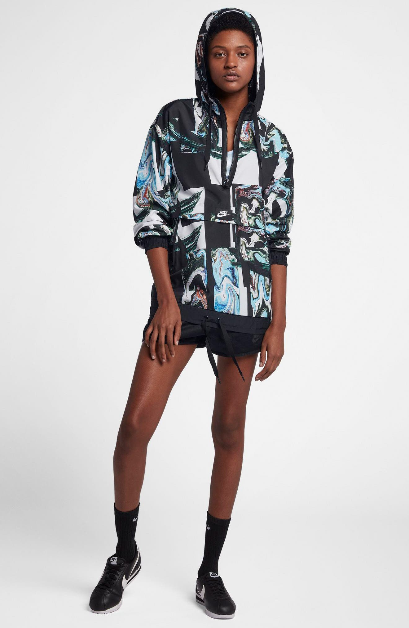 Sportswear Women's Marble Print Hooded Jacket,                             Alternate thumbnail 8, color,