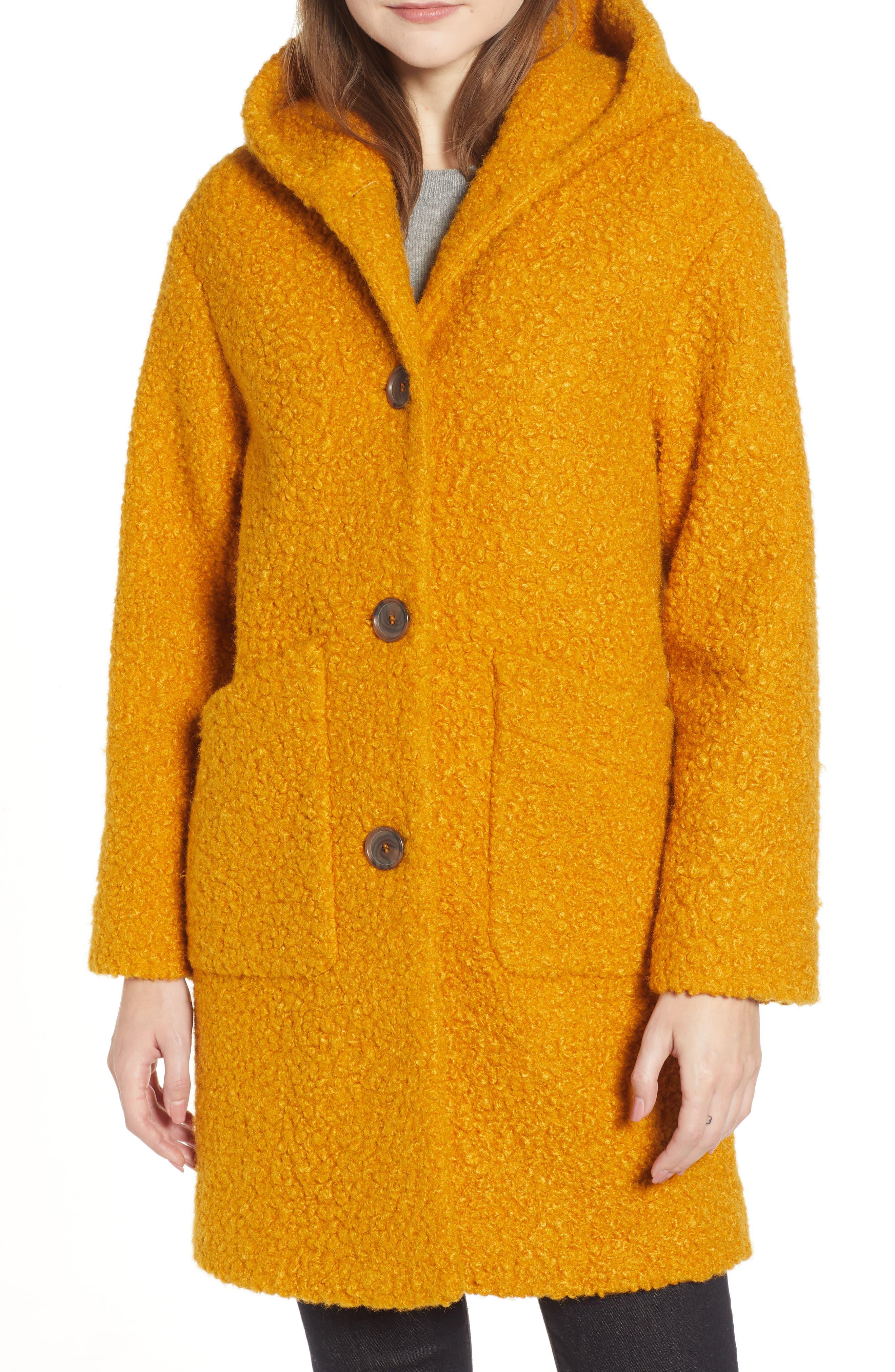 Hooded Coat,                             Main thumbnail 1, color,                             YELLOW TREASURE