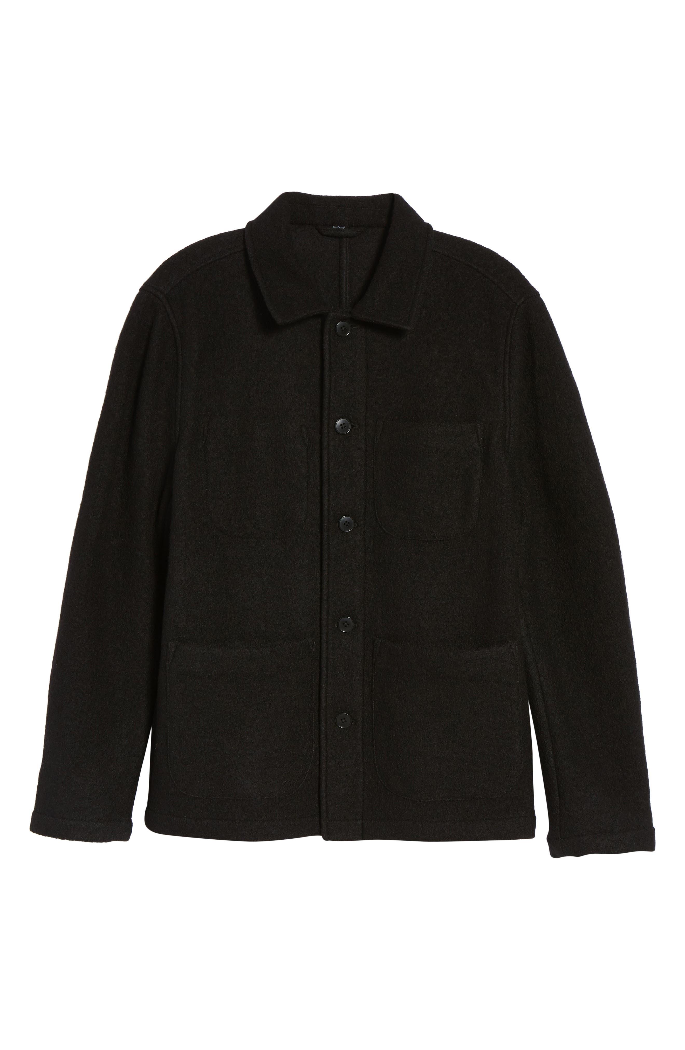 The Wool Bouclé Bomber Jacket,                             Alternate thumbnail 5, color,                             001