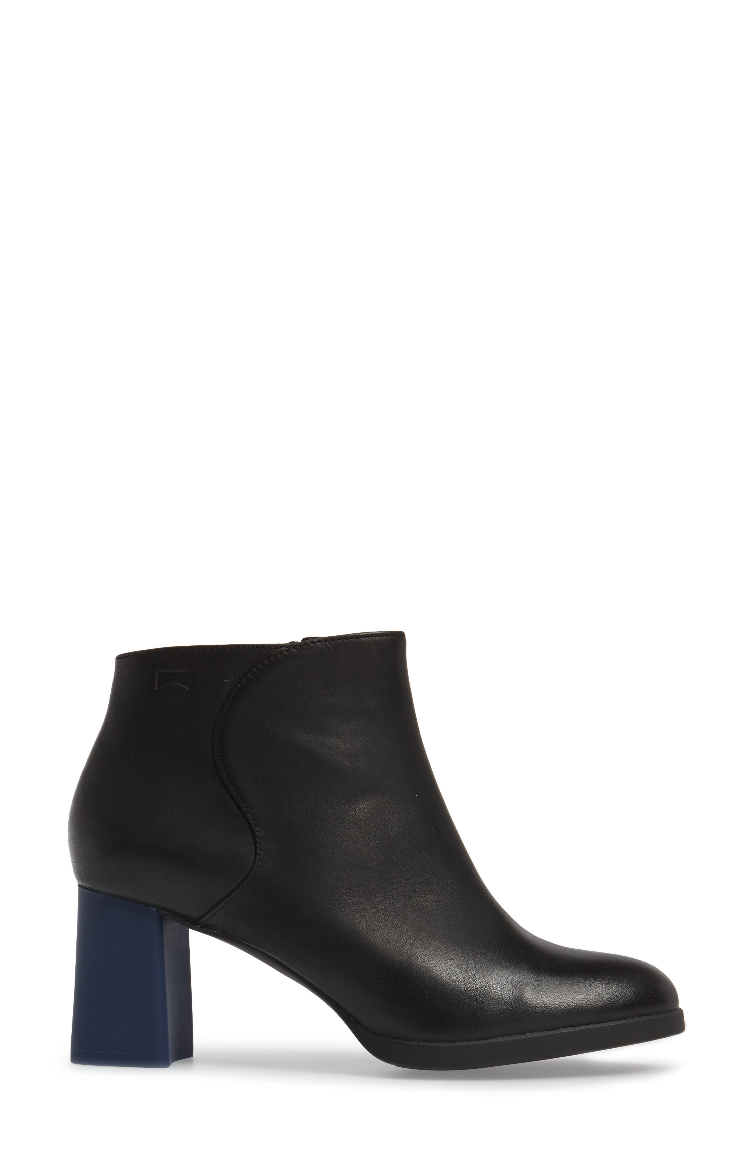 Kara Flared Heel Bootie,                             Alternate thumbnail 3, color,                             001