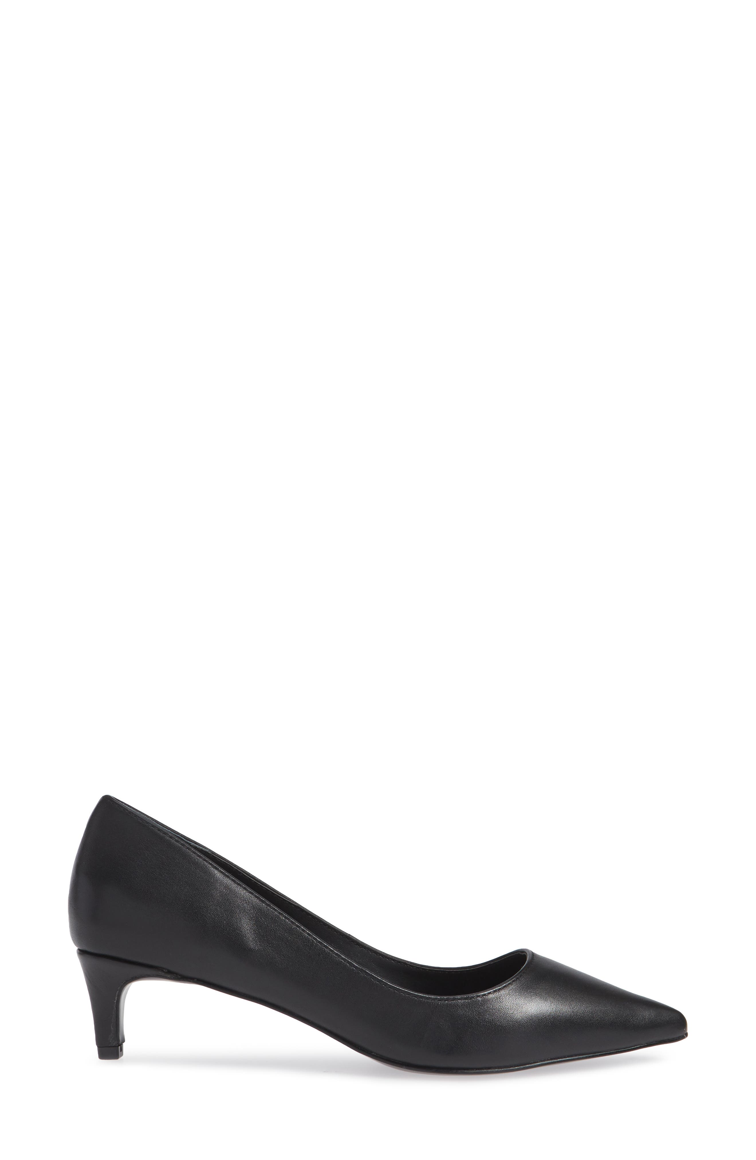 Kitten Pointy Toe Pump,                             Alternate thumbnail 3, color,                             BLACK
