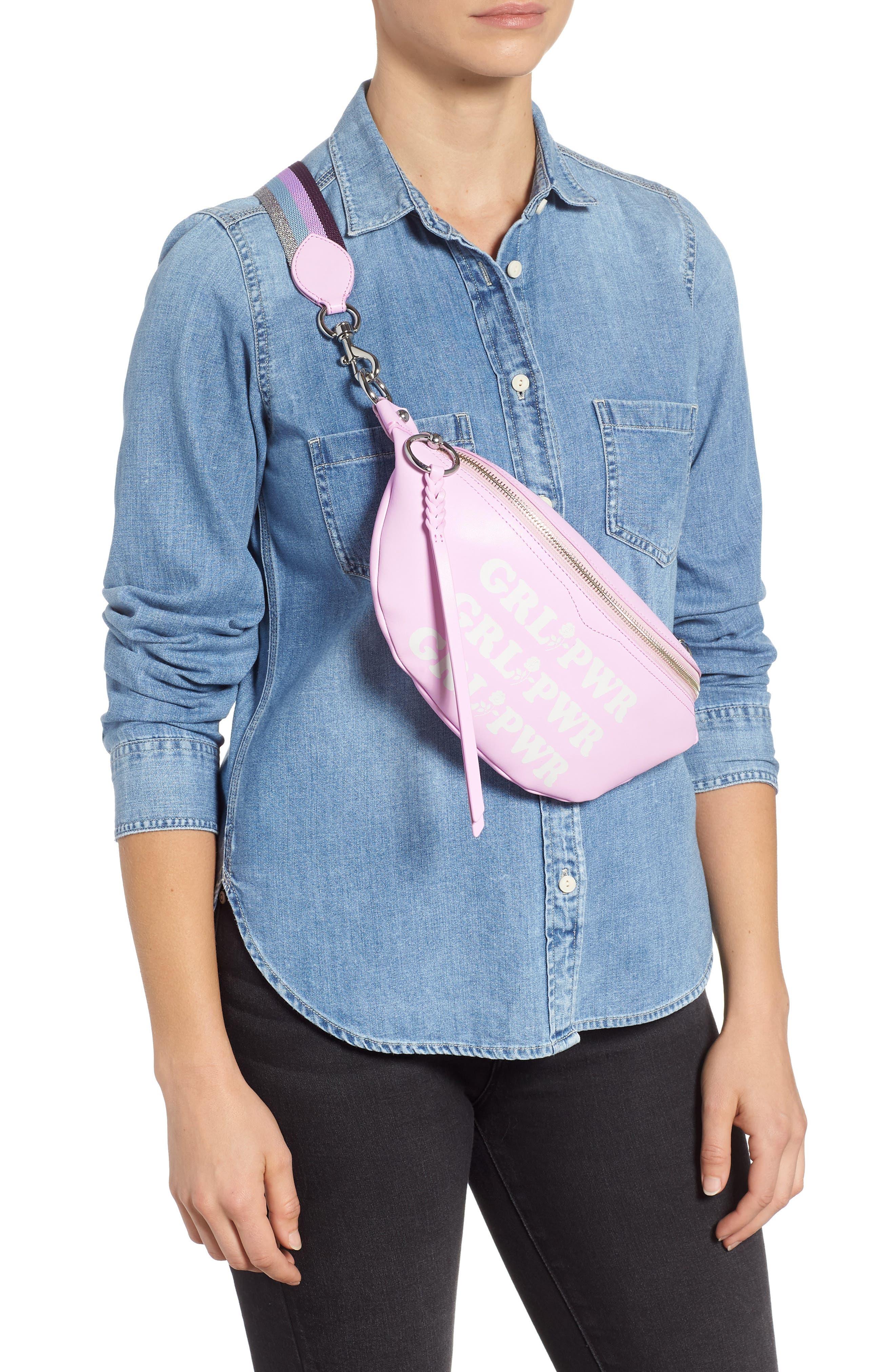REBECCA MINKOFF,                             Bree - GRL PWR Leather Belt Bag,                             Alternate thumbnail 3, color,                             500