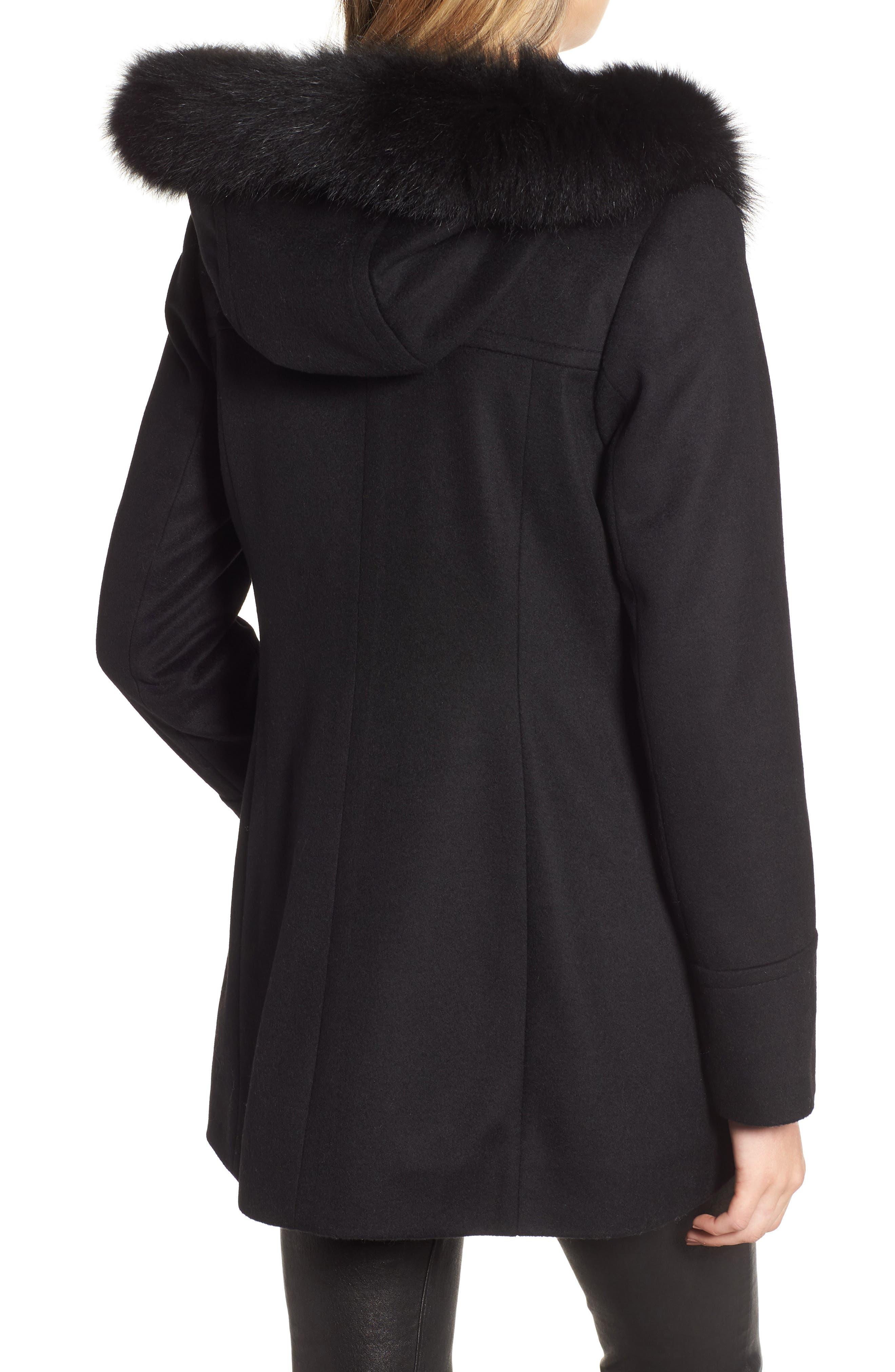 Genuine Fox Fur Trim Hooded Wool Coat,                             Alternate thumbnail 2, color,                             001
