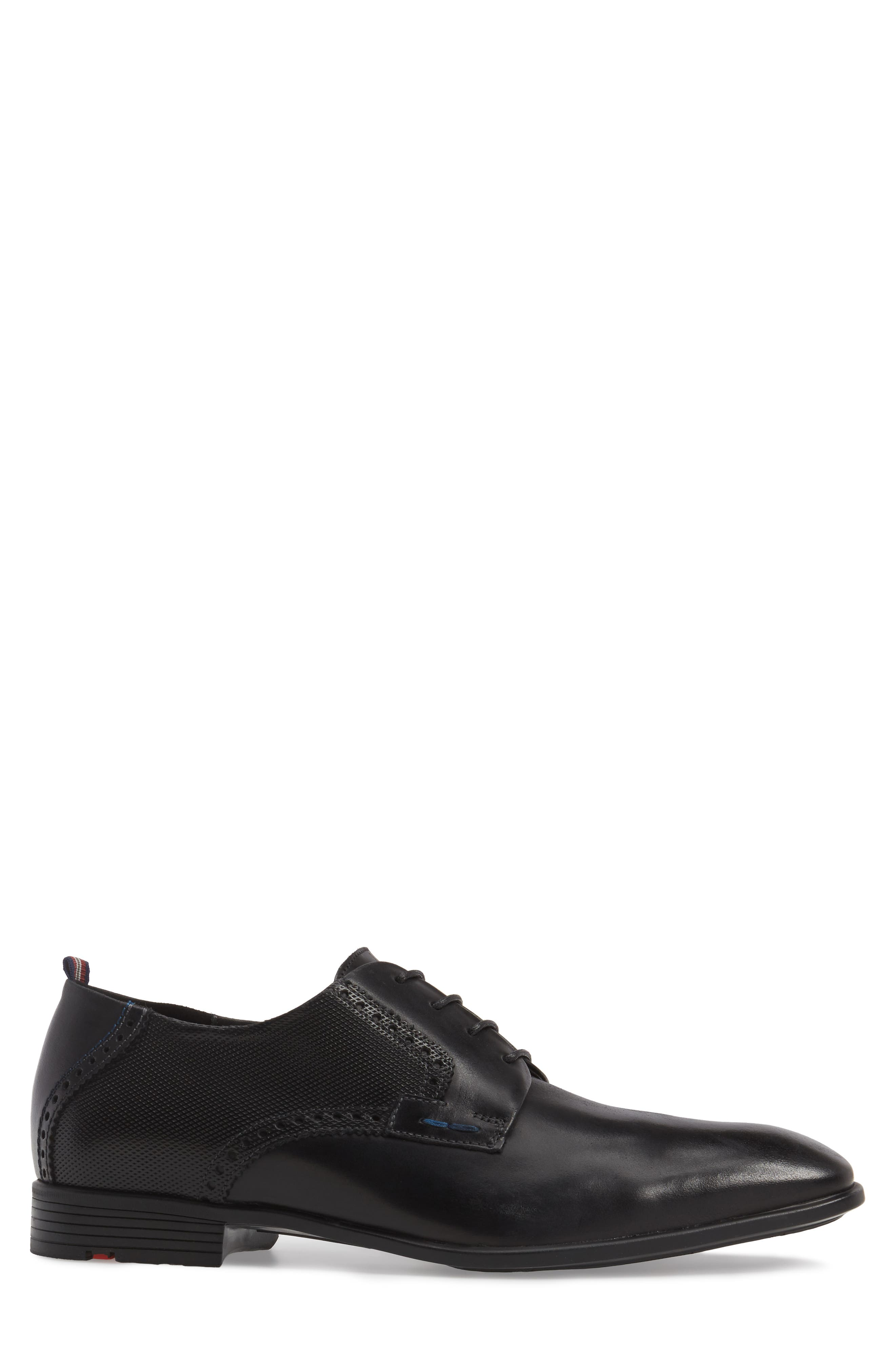 Dejan Plain Toe Derby,                             Alternate thumbnail 3, color,                             BLACK LEATHER