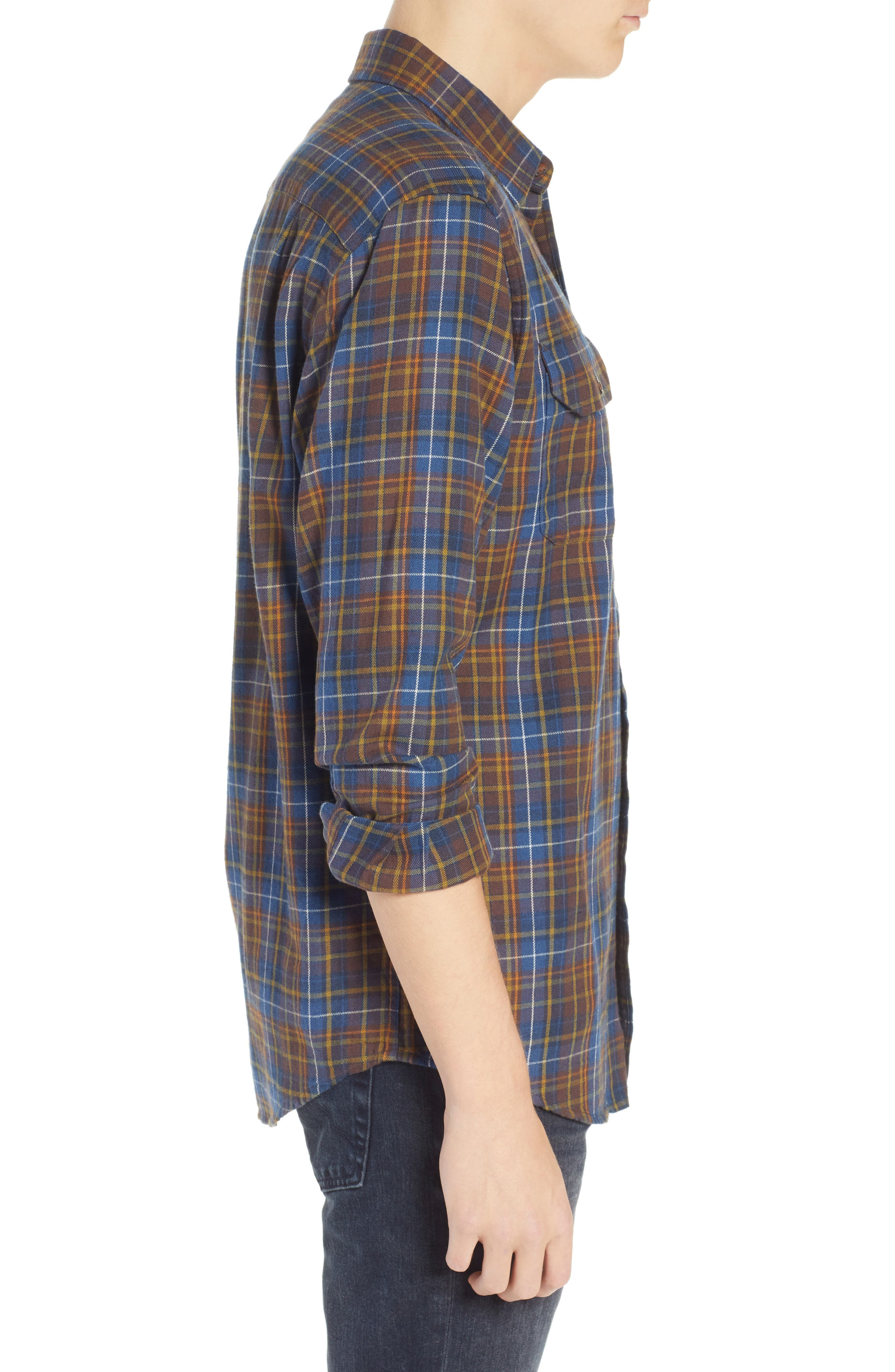 Bridger Plaid Twill Shirt,                             Alternate thumbnail 4, color,                             BLUE/ BROWN/ GREEN PLAID
