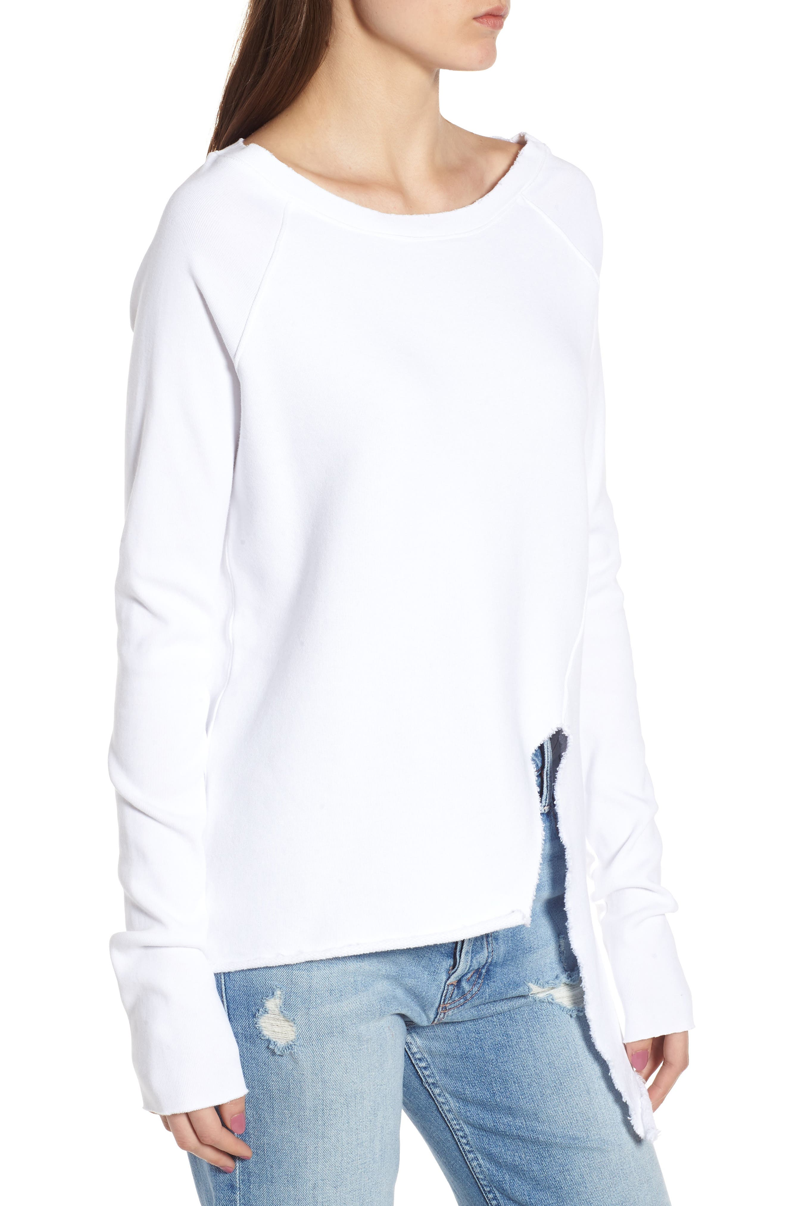 Asymmetric Sweatshirt,                             Alternate thumbnail 3, color,                             WHITEOUT