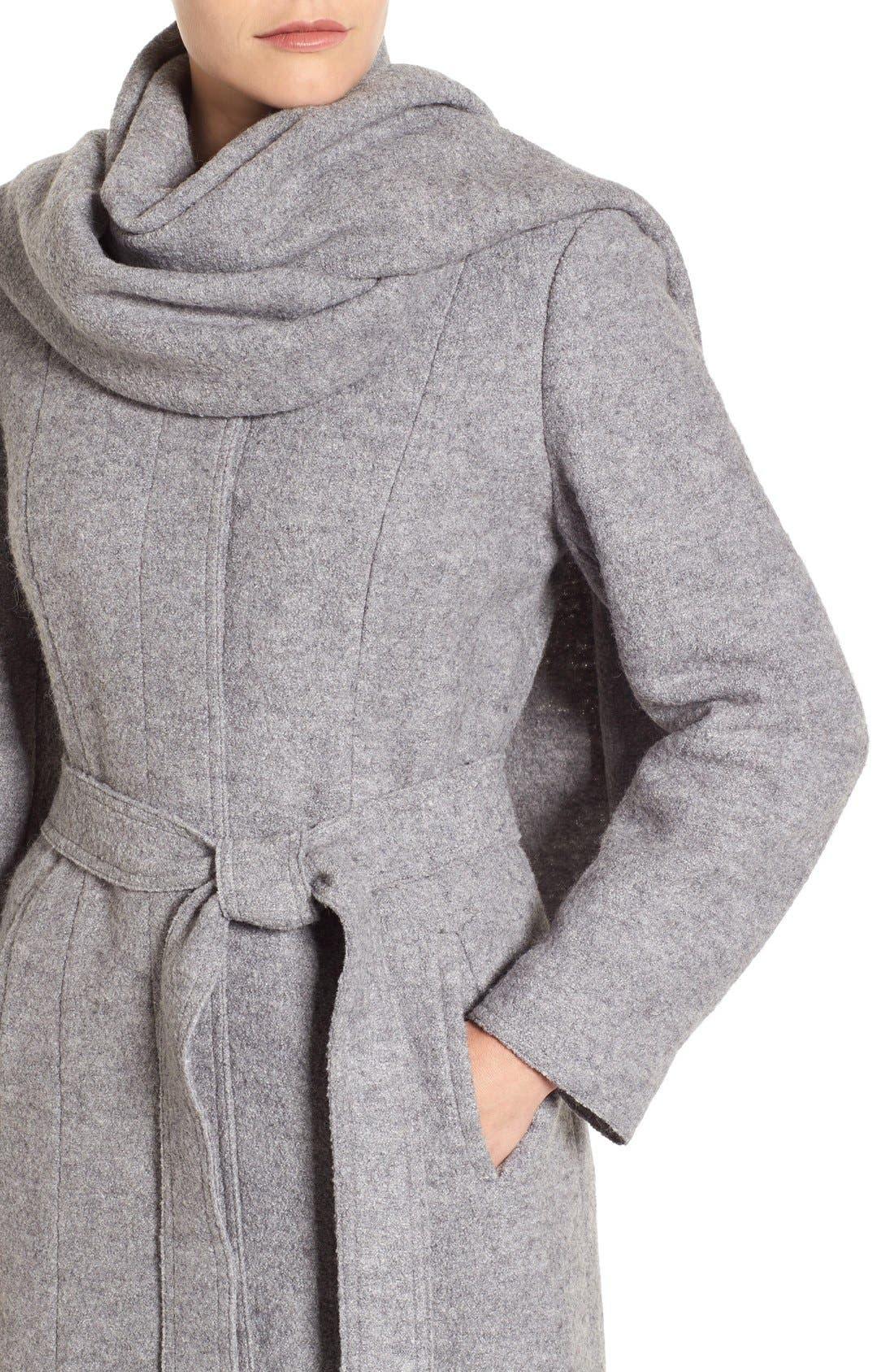 Belted Scarf Front Coat,                             Alternate thumbnail 8, color,