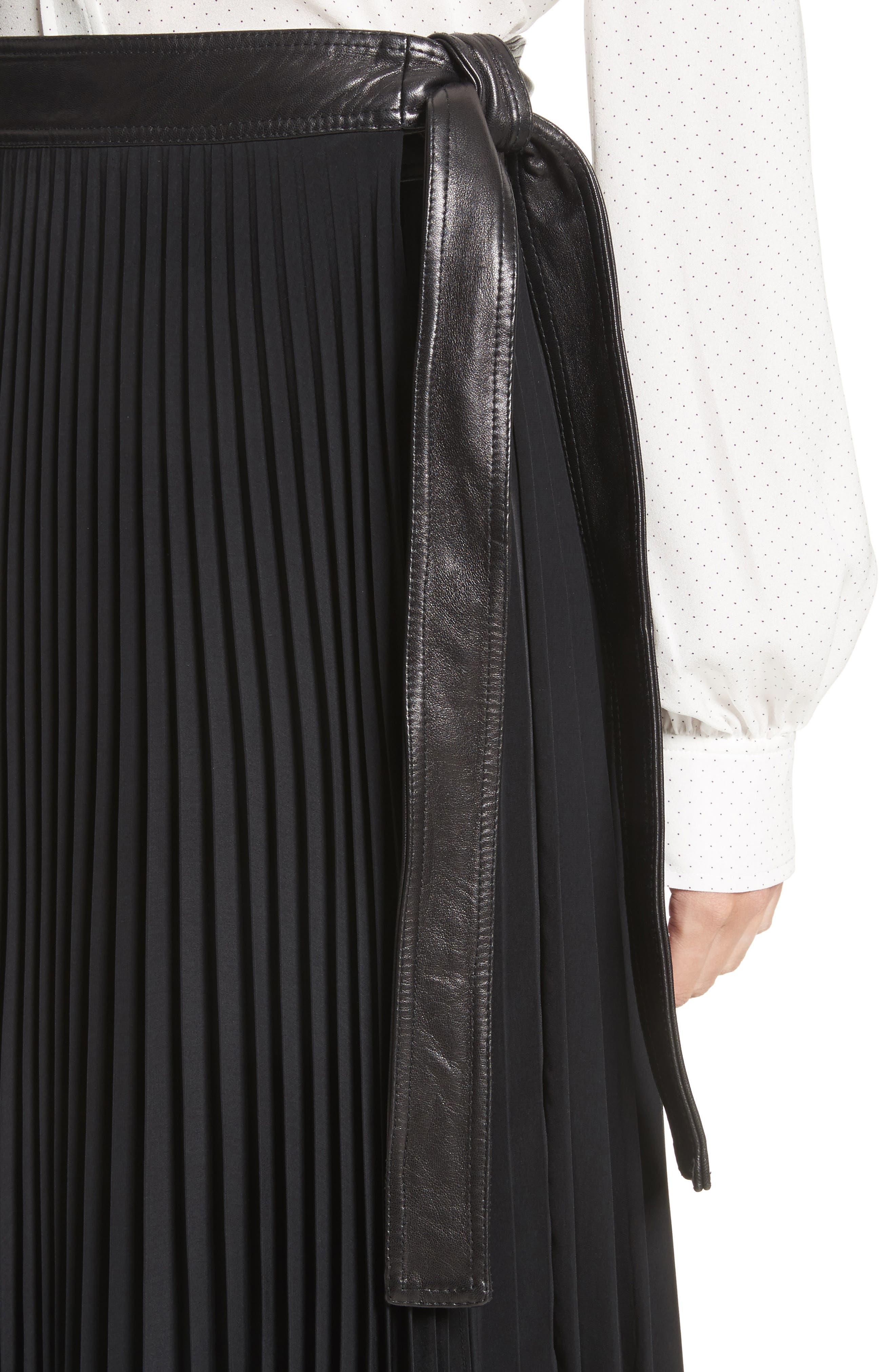 Anika Leather Trim Pleated Midi Skirt,                             Alternate thumbnail 4, color,                             001