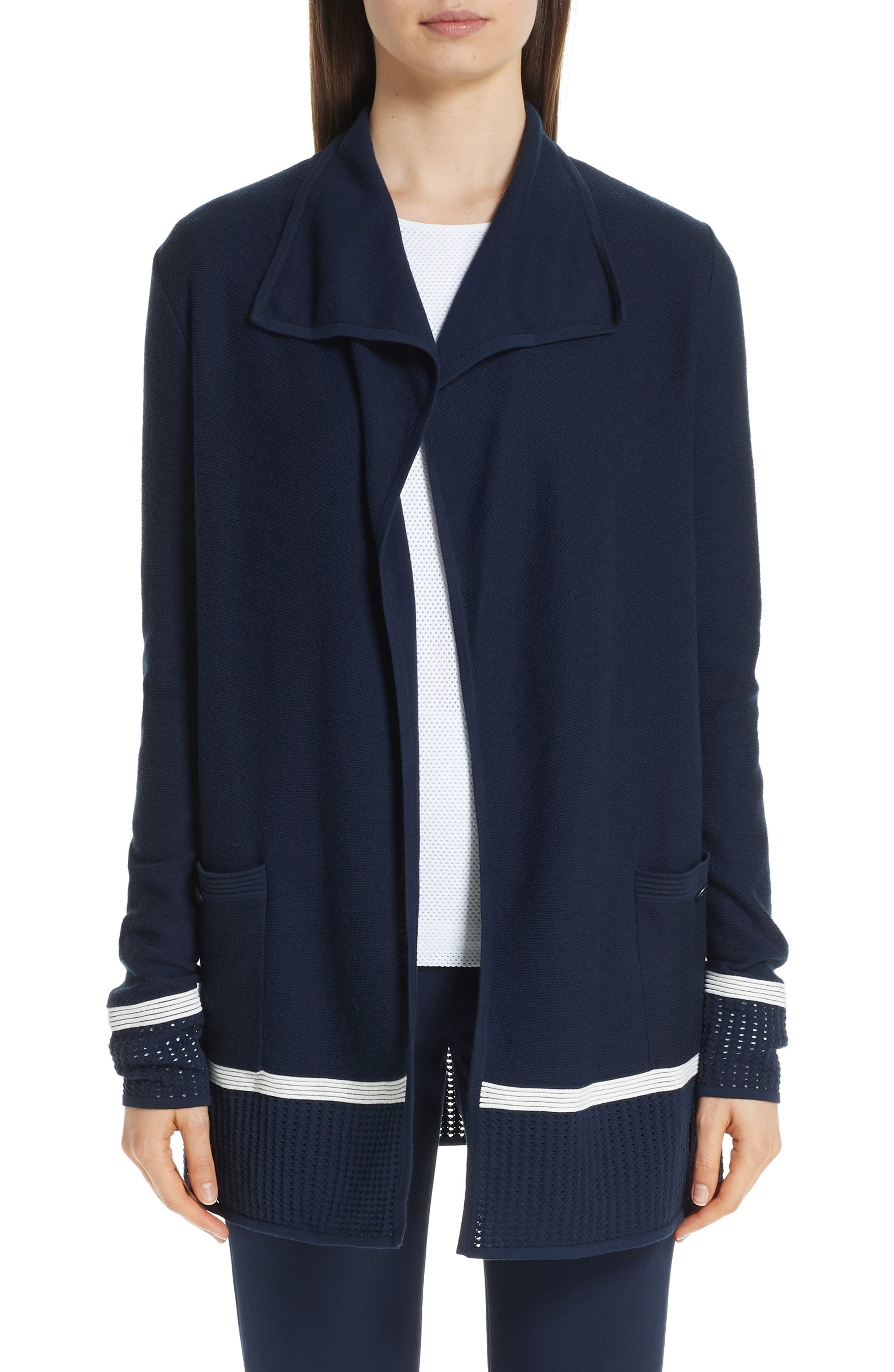 ST. JOHN COLLECTION Mesh Trim Cardigan, Main, color, NAVY/ CREAM