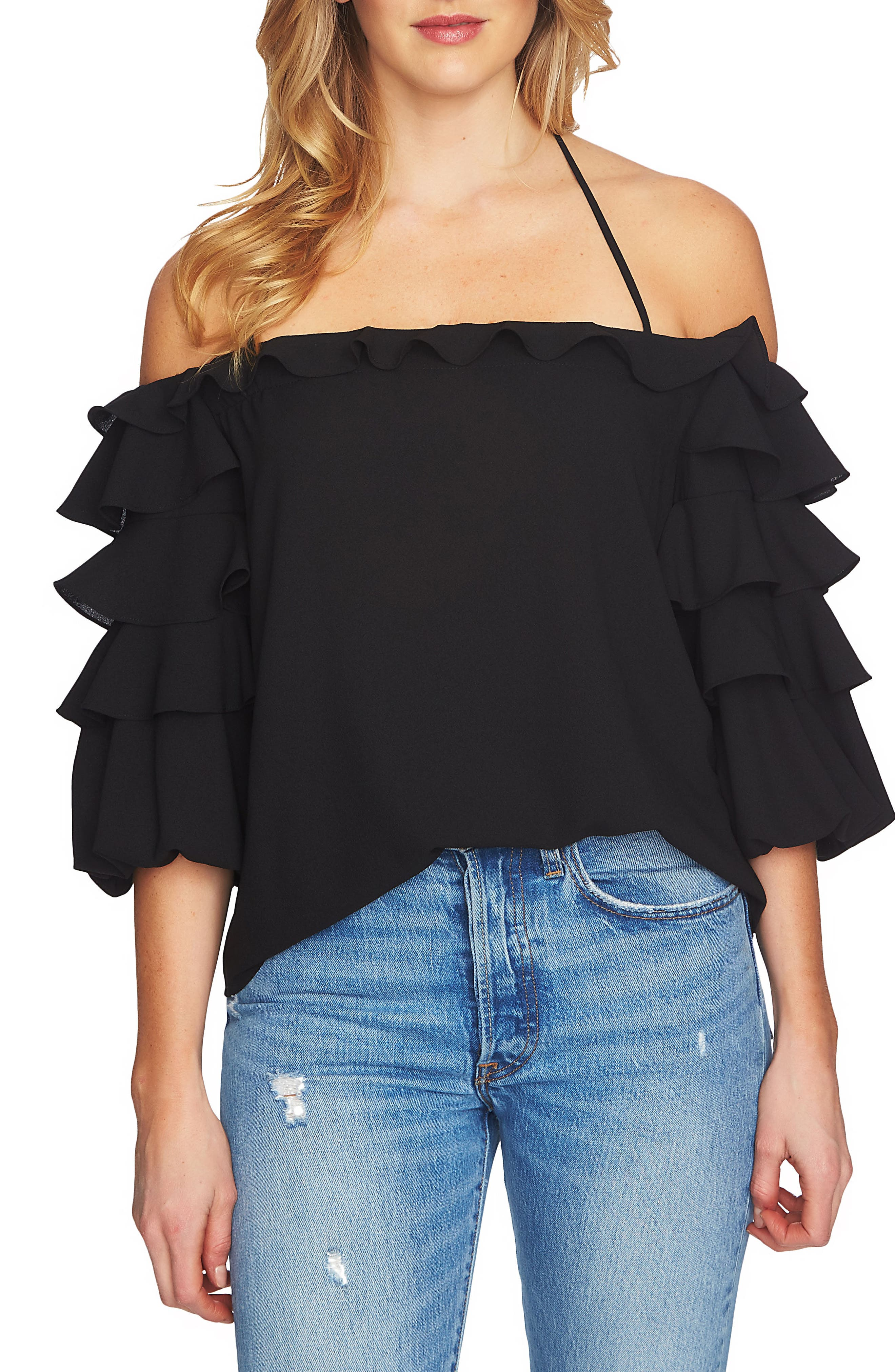 Tiered Ruffle Sleeve Off the Shoulder Top,                             Main thumbnail 1, color,                             001