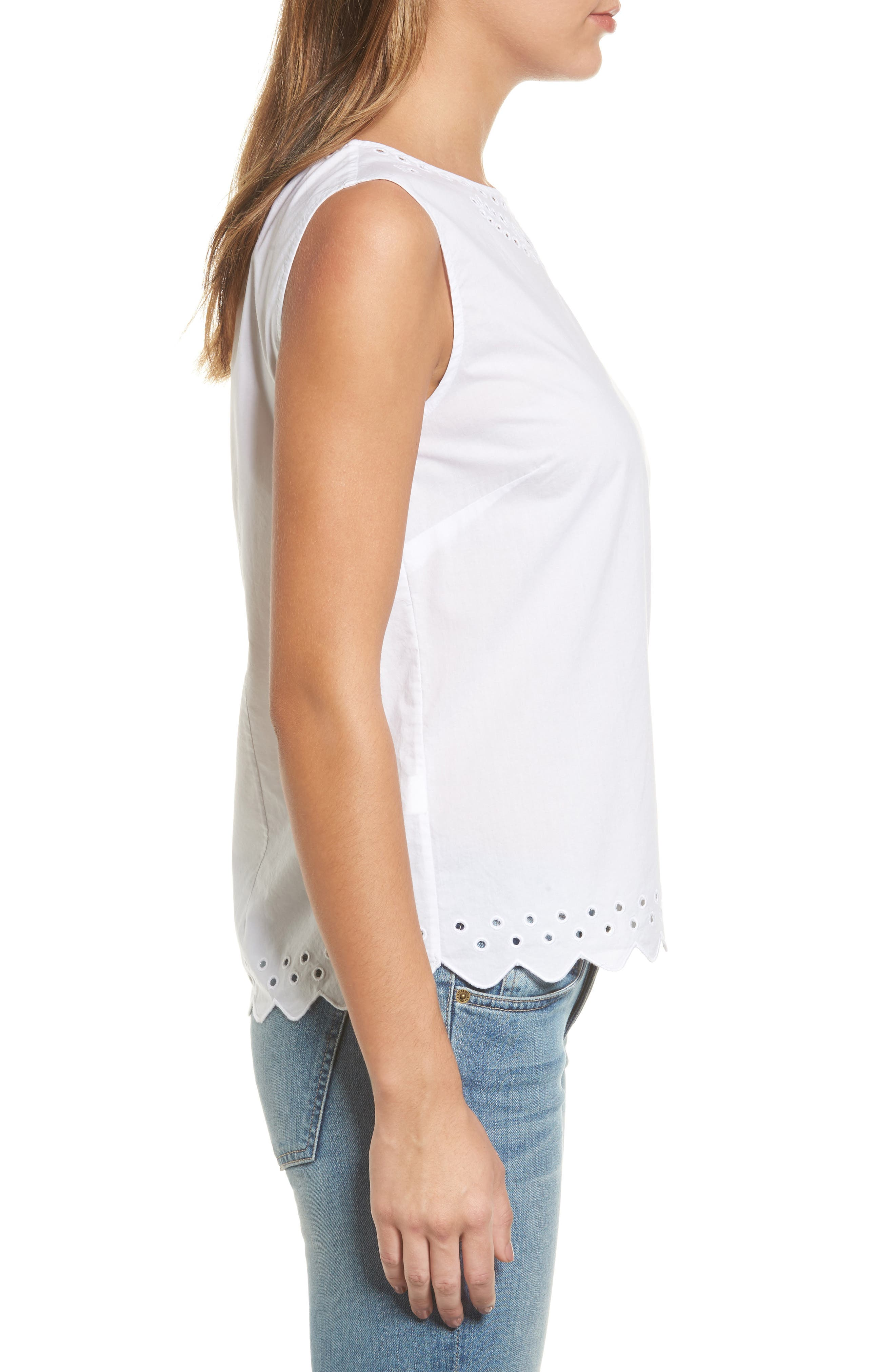 Cotton Eyelet Top,                             Alternate thumbnail 3, color,                             100