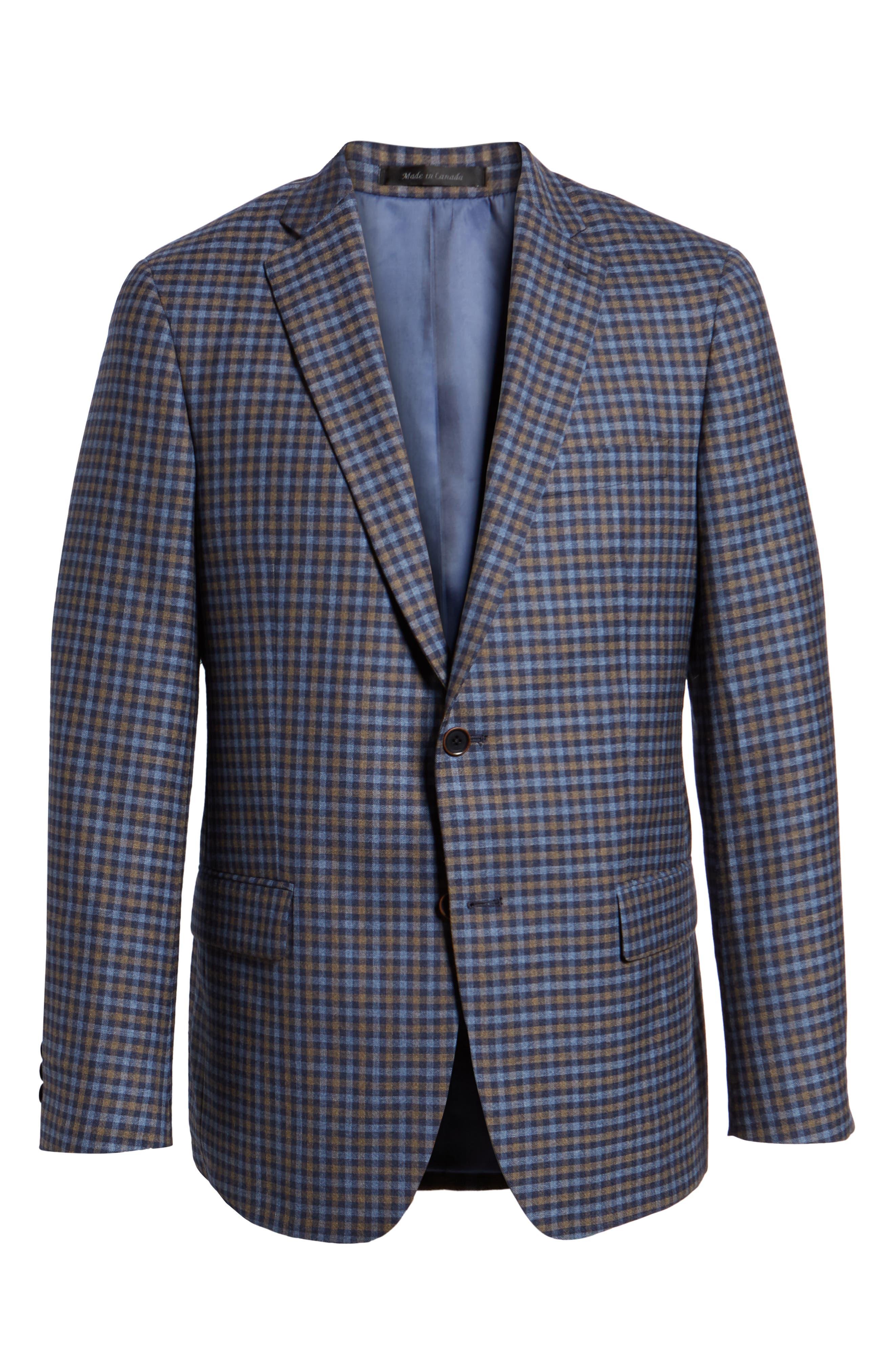 Classic Fit Check Wool Sport Coat,                             Alternate thumbnail 5, color,                             BLUE