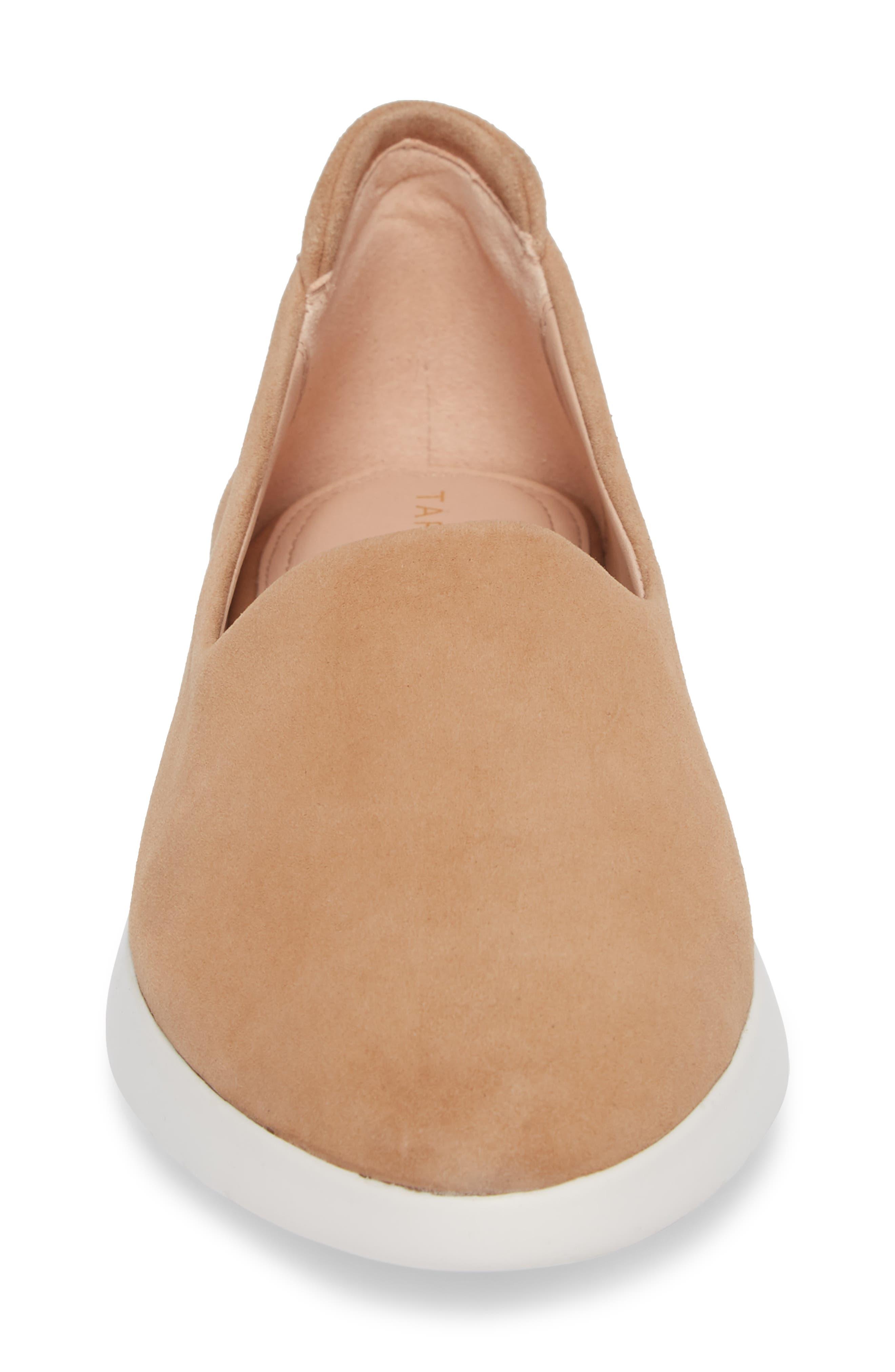 Darla Slip-On Sneaker,                             Alternate thumbnail 4, color,                             SOFT BEIGE SUEDE