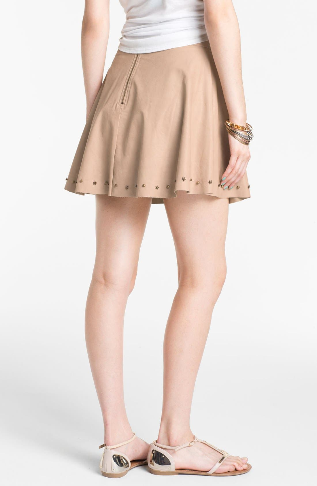 Studded Faux Leather Skirt,                             Alternate thumbnail 4, color,                             270
