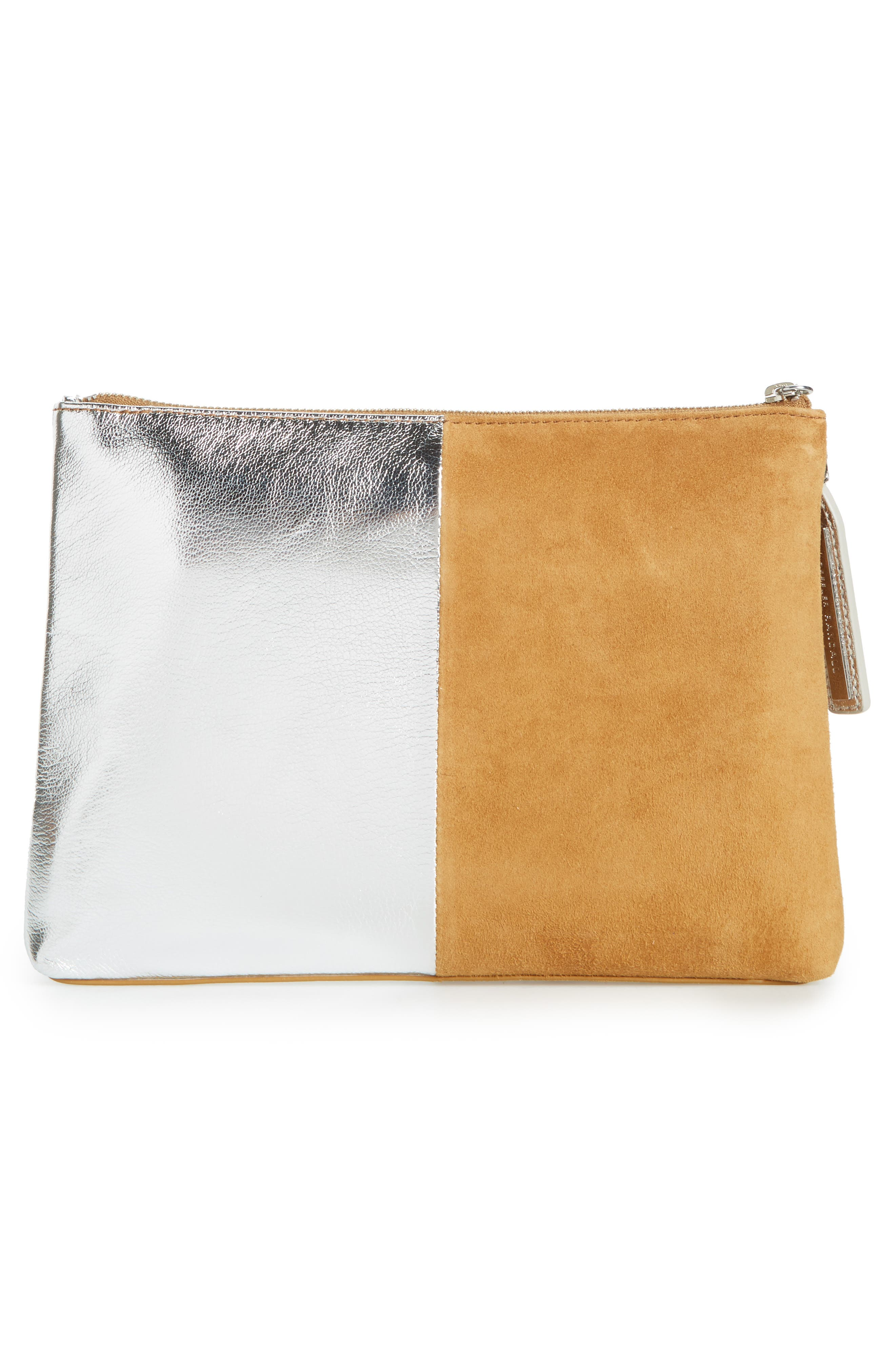 Tassel Metallic Leather & Suede Pouch,                             Alternate thumbnail 3, color,                             269
