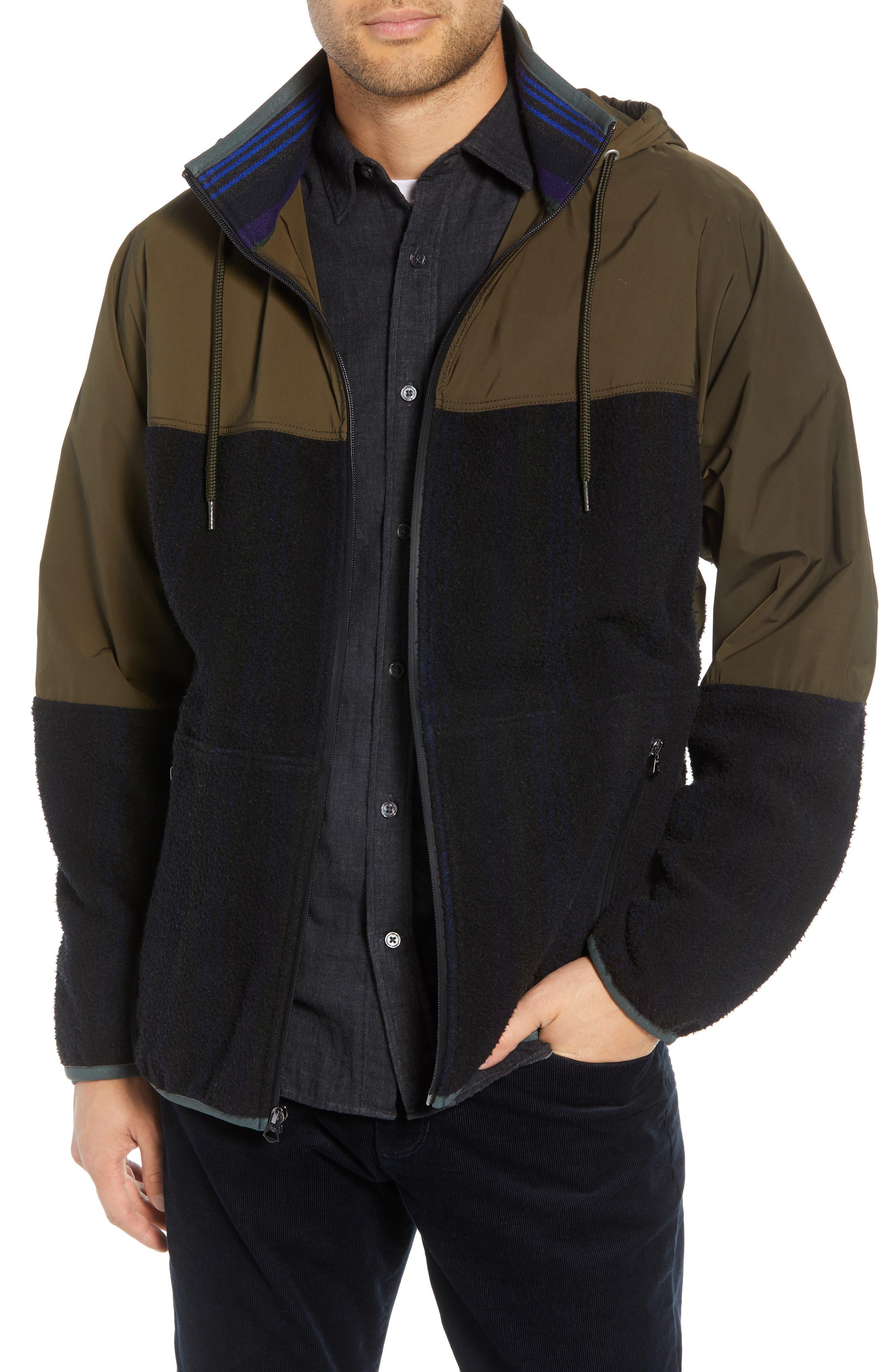 Mixed Media Hooded Jacket,                             Main thumbnail 1, color,                             FATIGUE