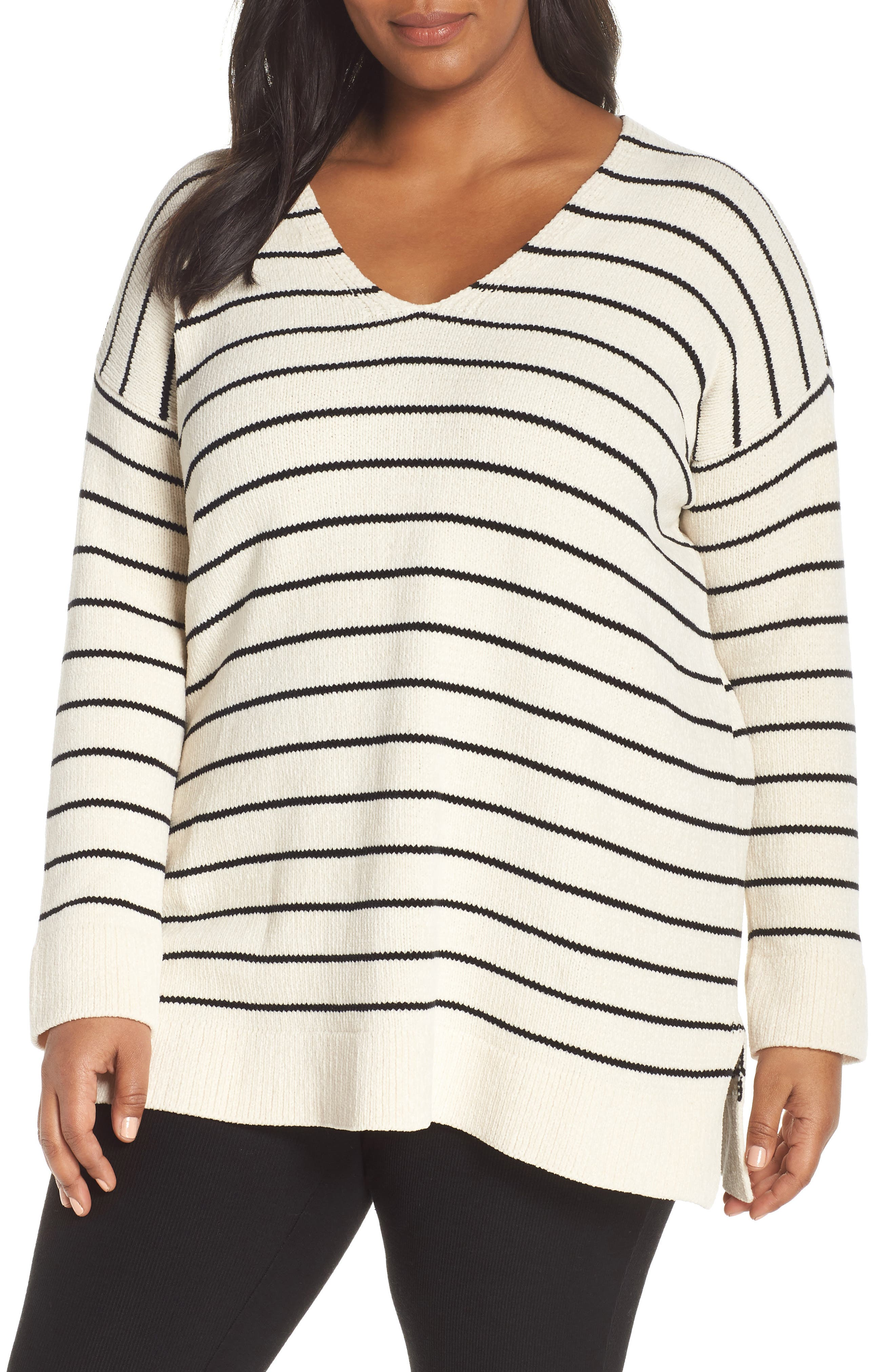 Plus Size Eileen Fisher Stripe Organic Cotton Sweater, White
