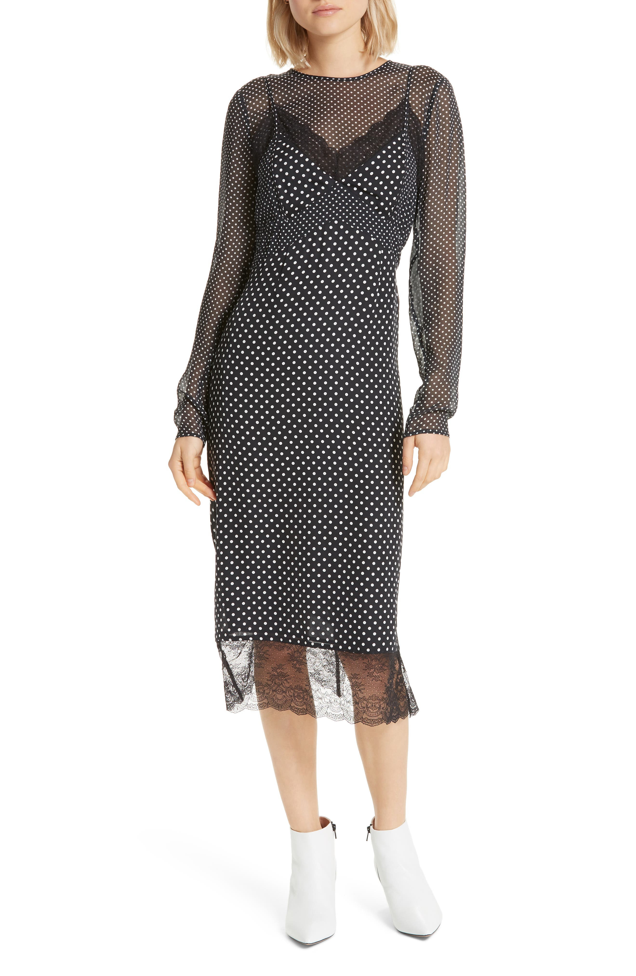 Alamea Dot & Lace Midi Dress, Main, color, CAVIAR