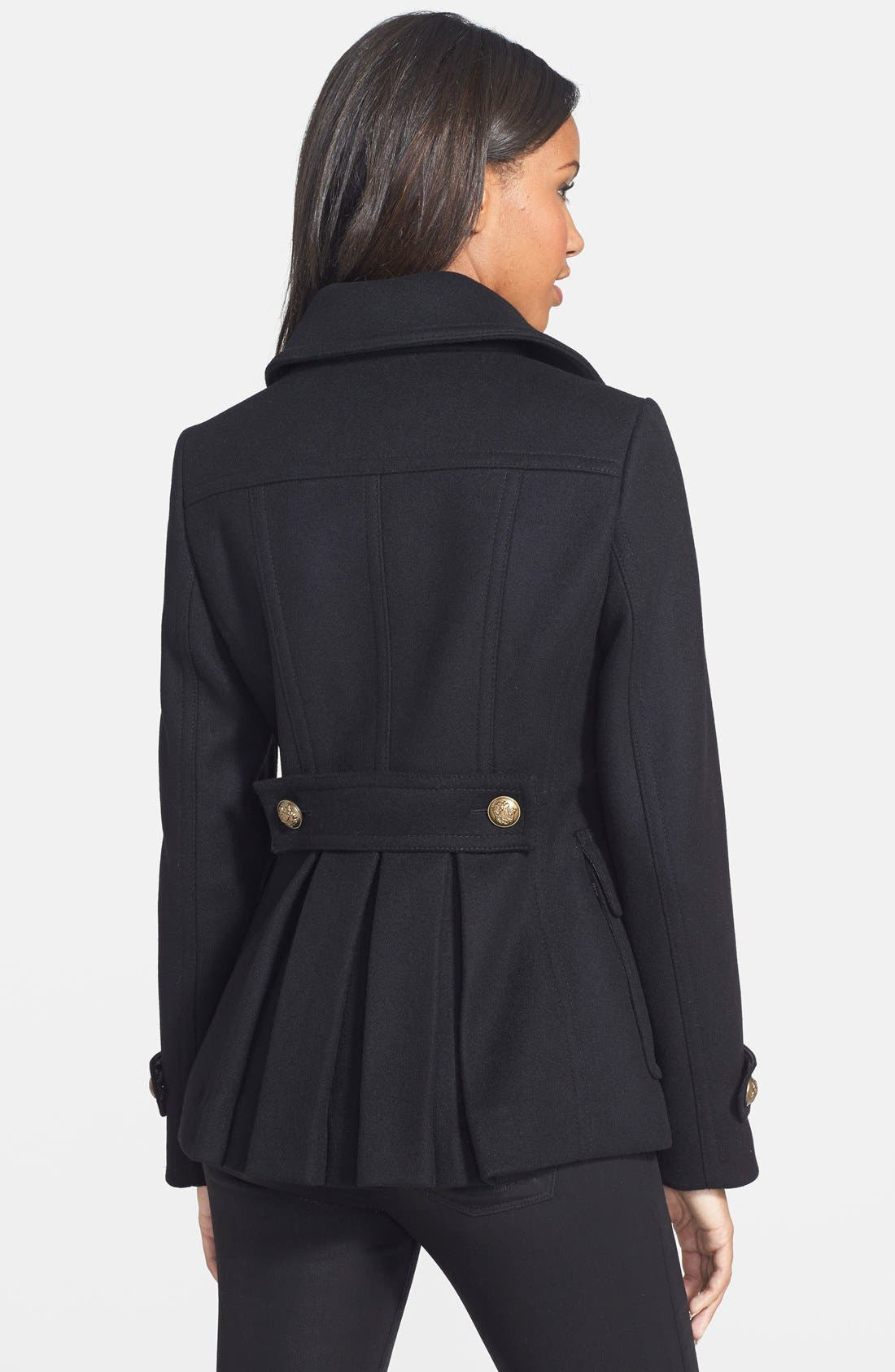 Double Breasted Wool Blend Skirted Peacoat,                             Alternate thumbnail 5, color,
