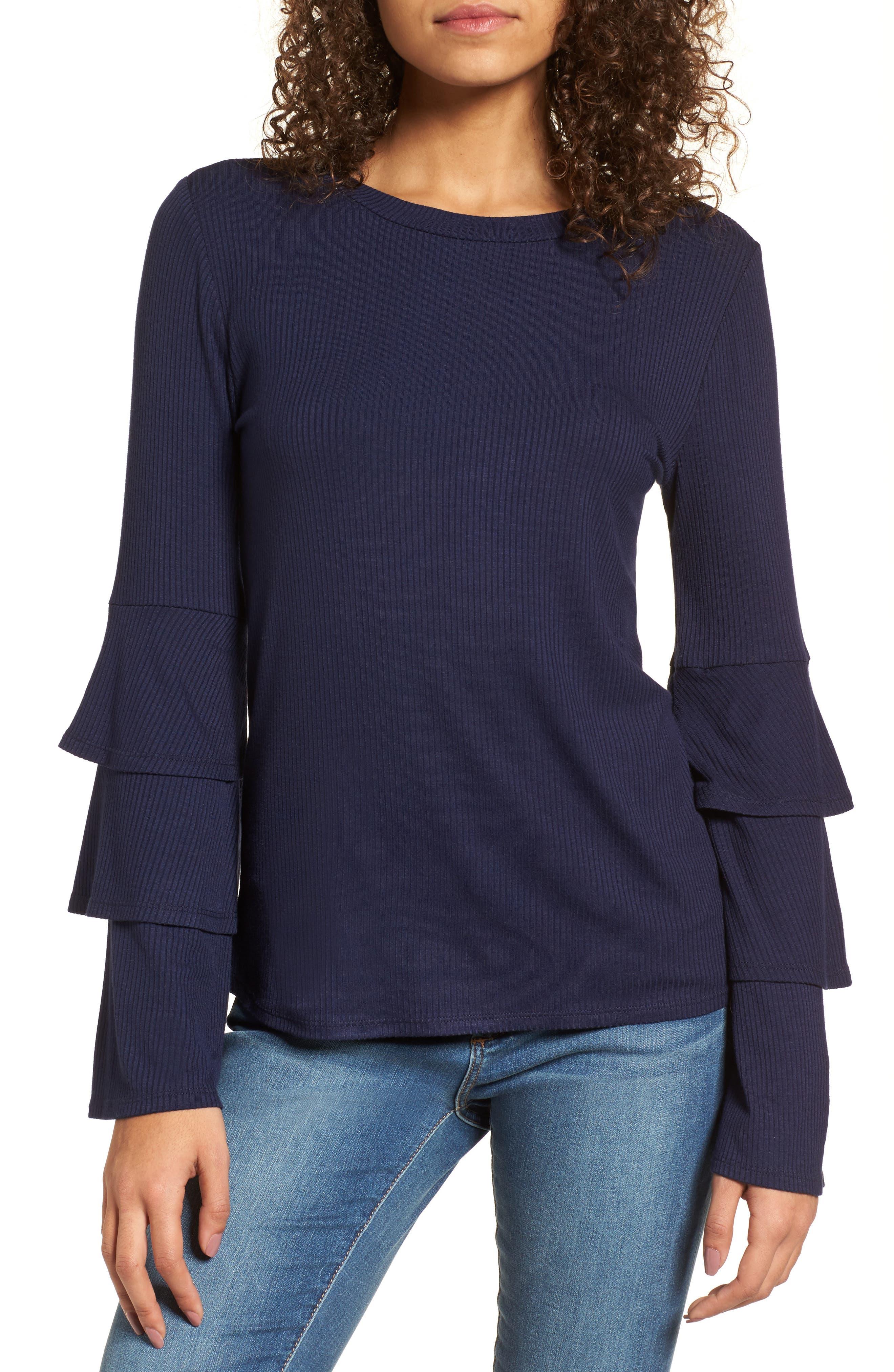 Ruffle Sleeve Ribbed Sweater,                             Main thumbnail 2, color,