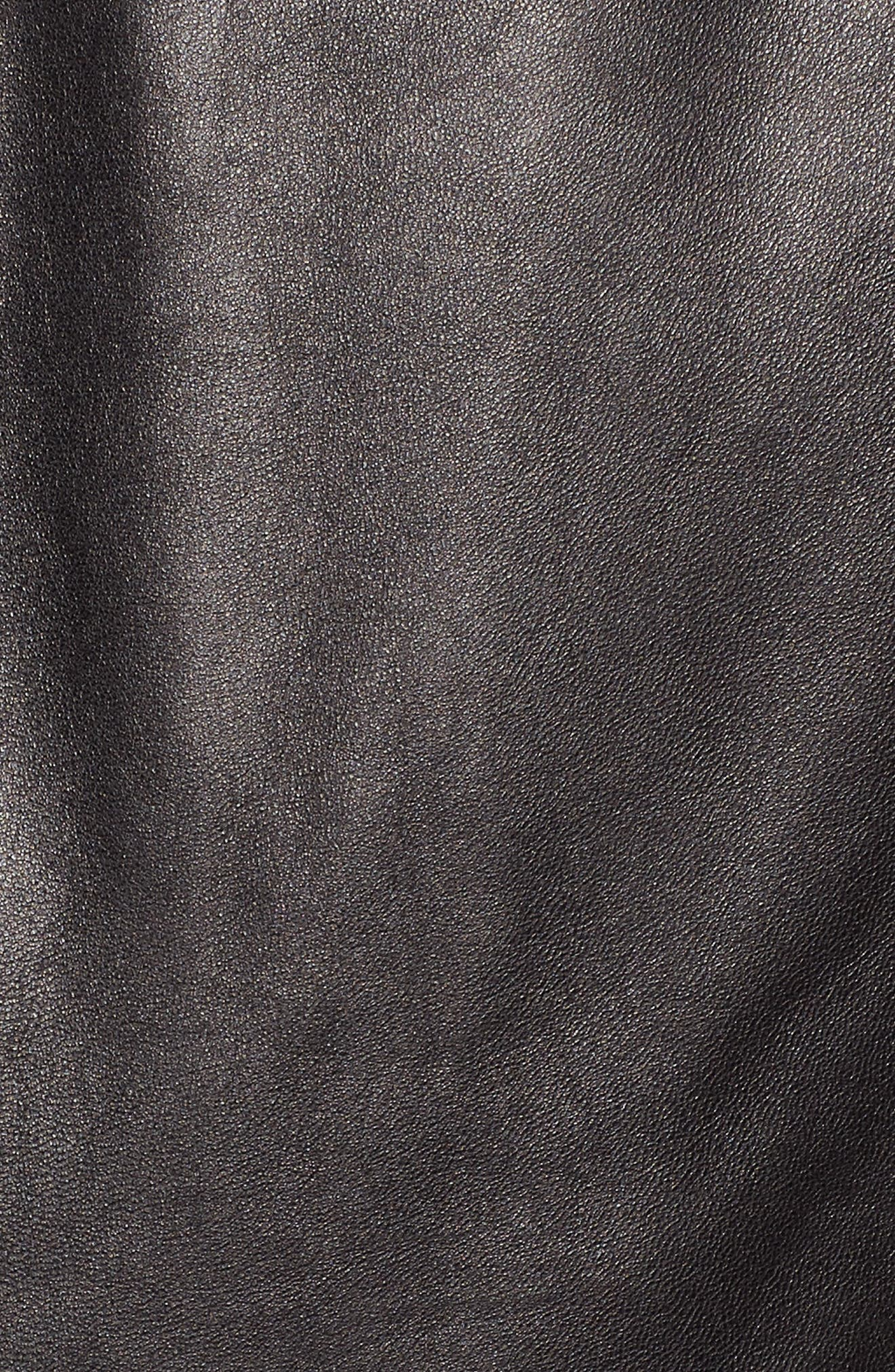 Esther Leather Trucker Jacket,                             Alternate thumbnail 7, color,                             BLACK