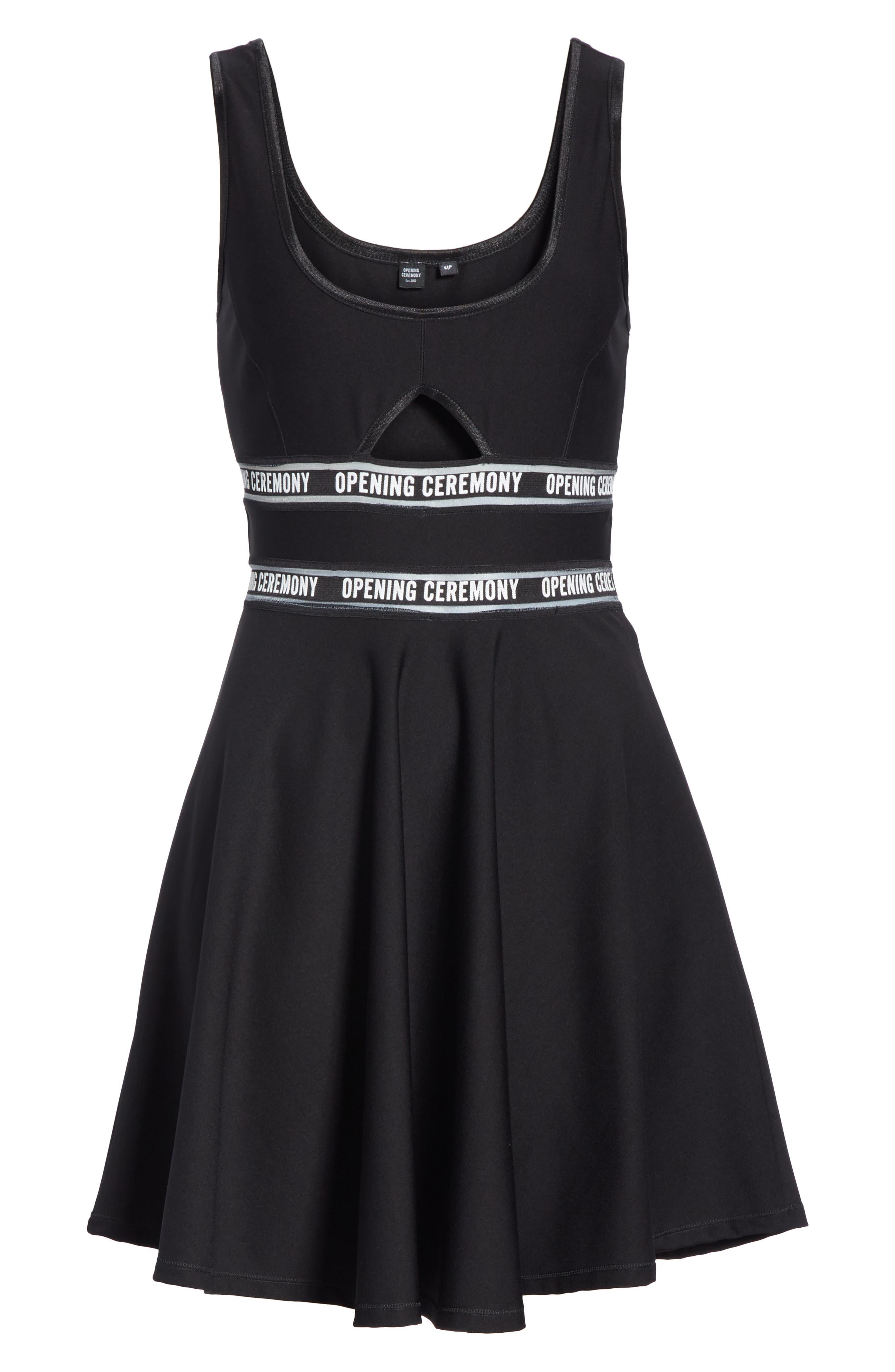 Logo Waist Cutout Fit & Flare Dress,                             Alternate thumbnail 6, color,                             BLACK