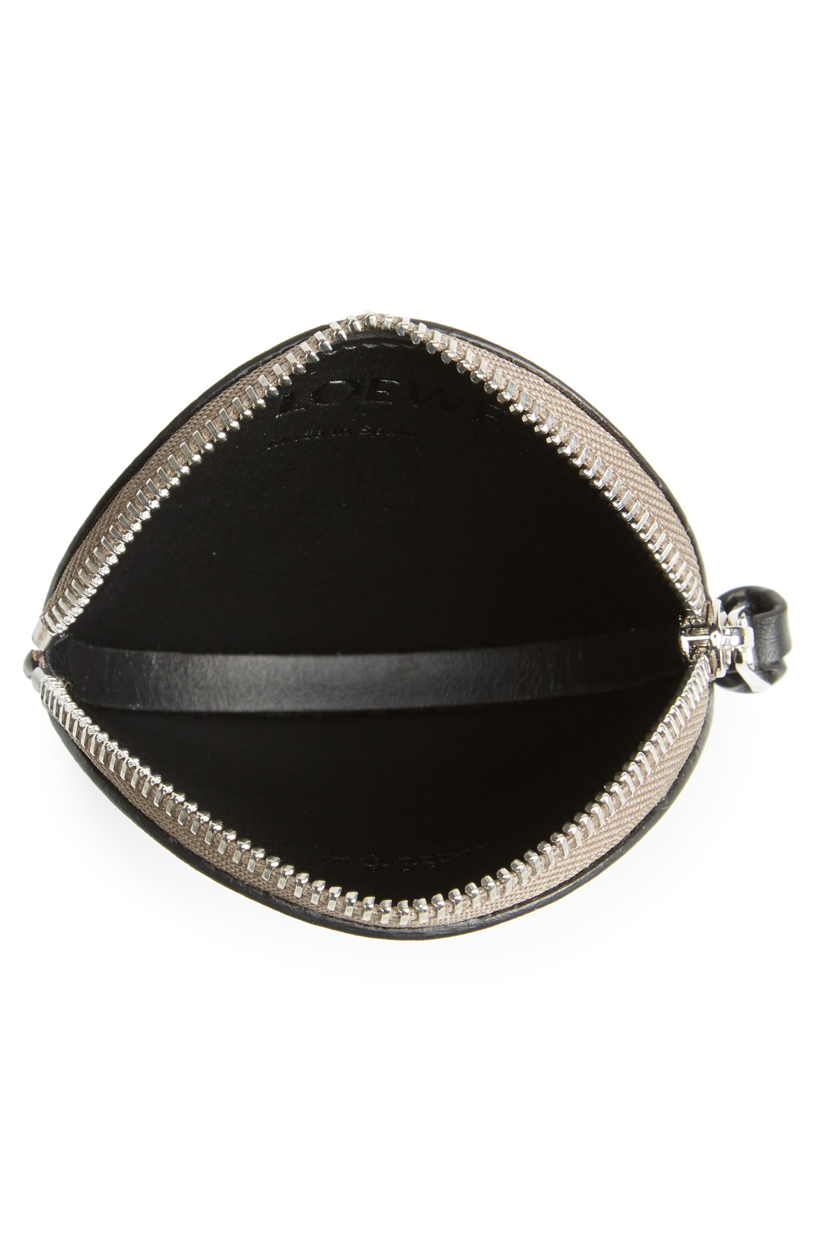 Skull Round Leather Zip Pouch,                             Alternate thumbnail 2, color,                             922