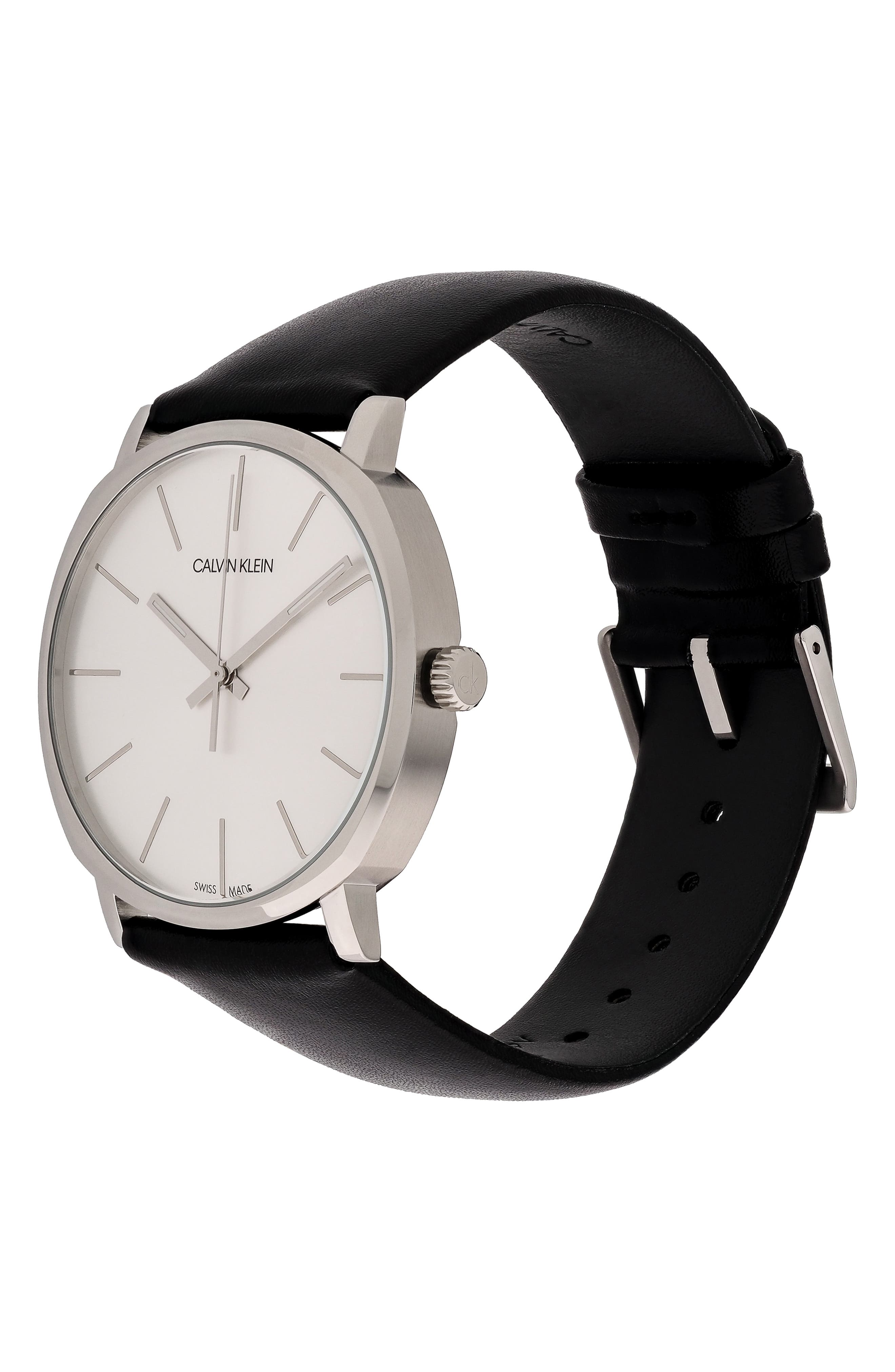 Posh Leather Band Watch, 40mm,                             Alternate thumbnail 4, color,                             BLACK/ SILVER