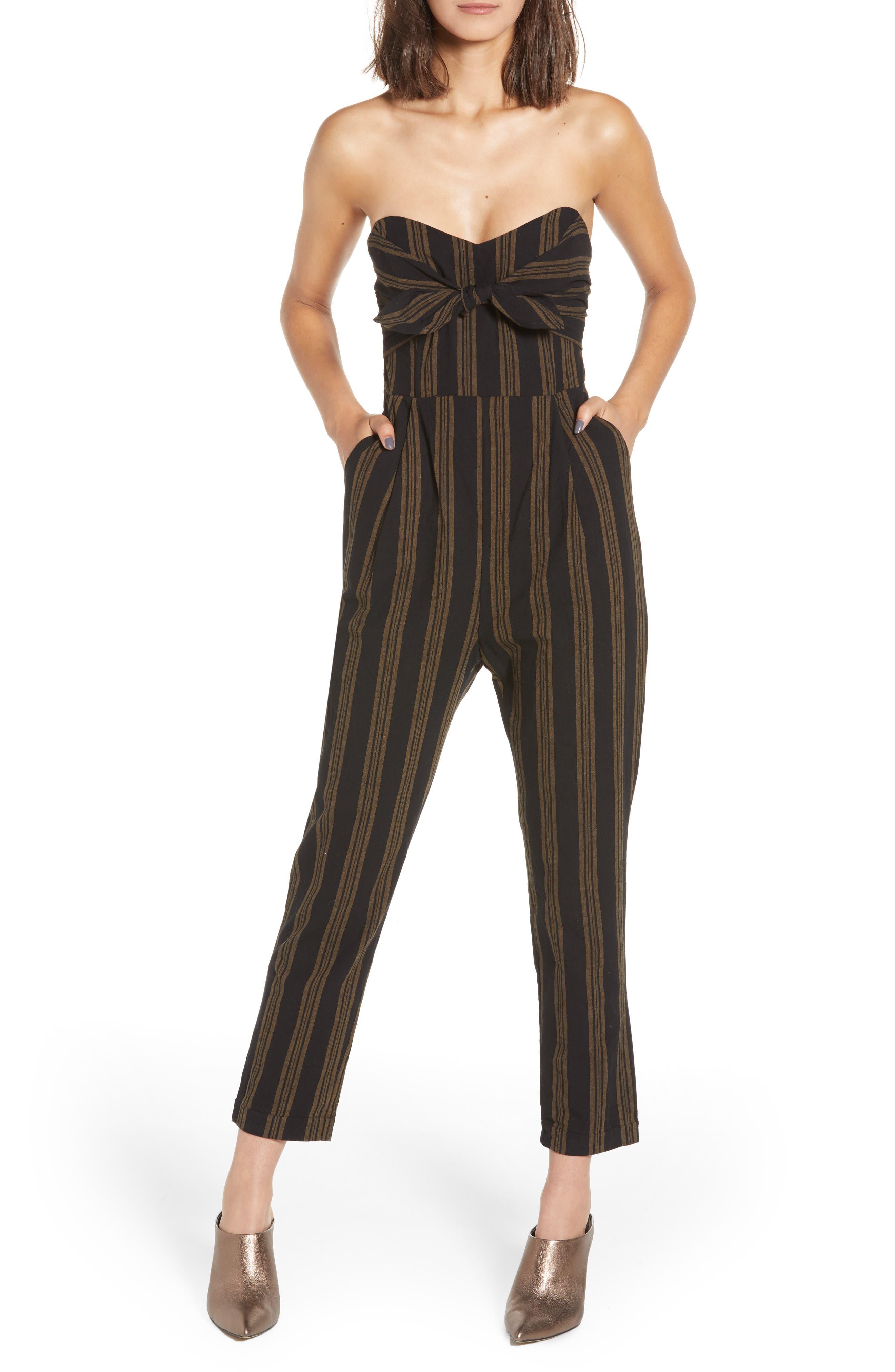 Knot Front Stripe Jumpsuit,                         Main,                         color, 001