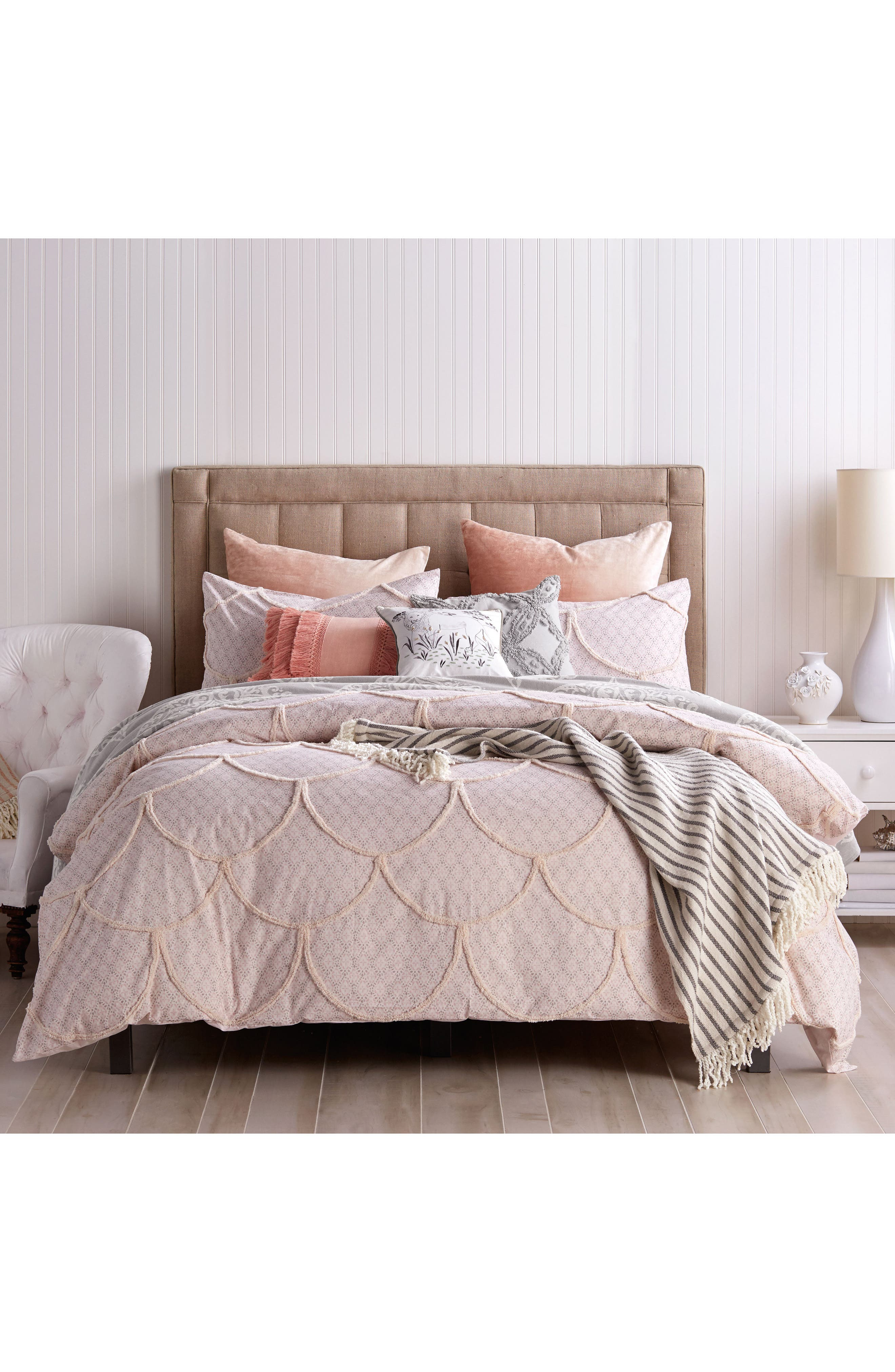 Chenille Scallop Duvet Cover,                             Main thumbnail 1, color,                             BLUSH