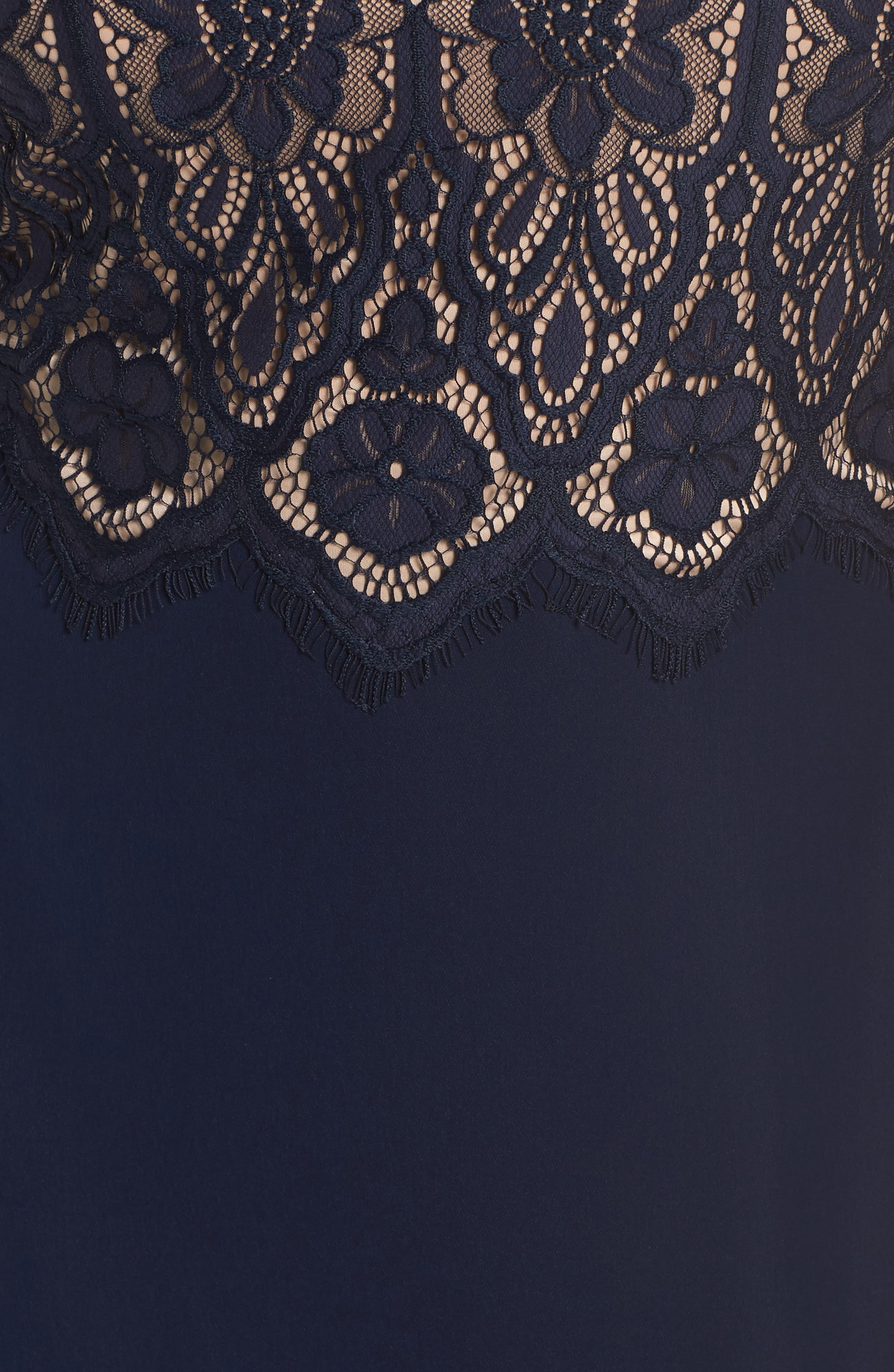 Lace & Crepe A-Line Gown,                             Alternate thumbnail 12, color,                             NAVY/ PETAL