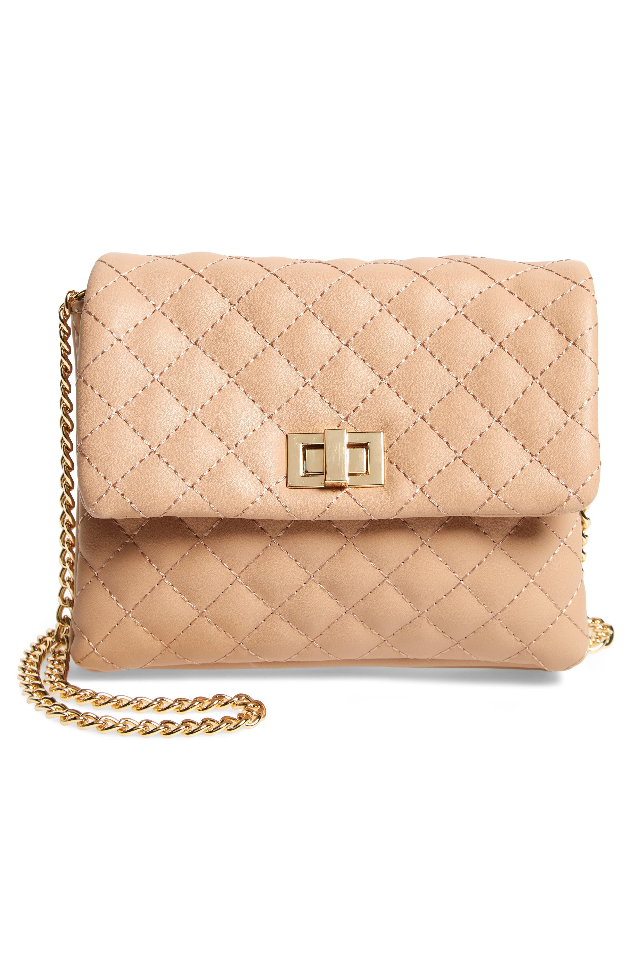 Mali + Lili Quilted Vegan Leather Belt Bag,                             Alternate thumbnail 4, color,                             CAMEL