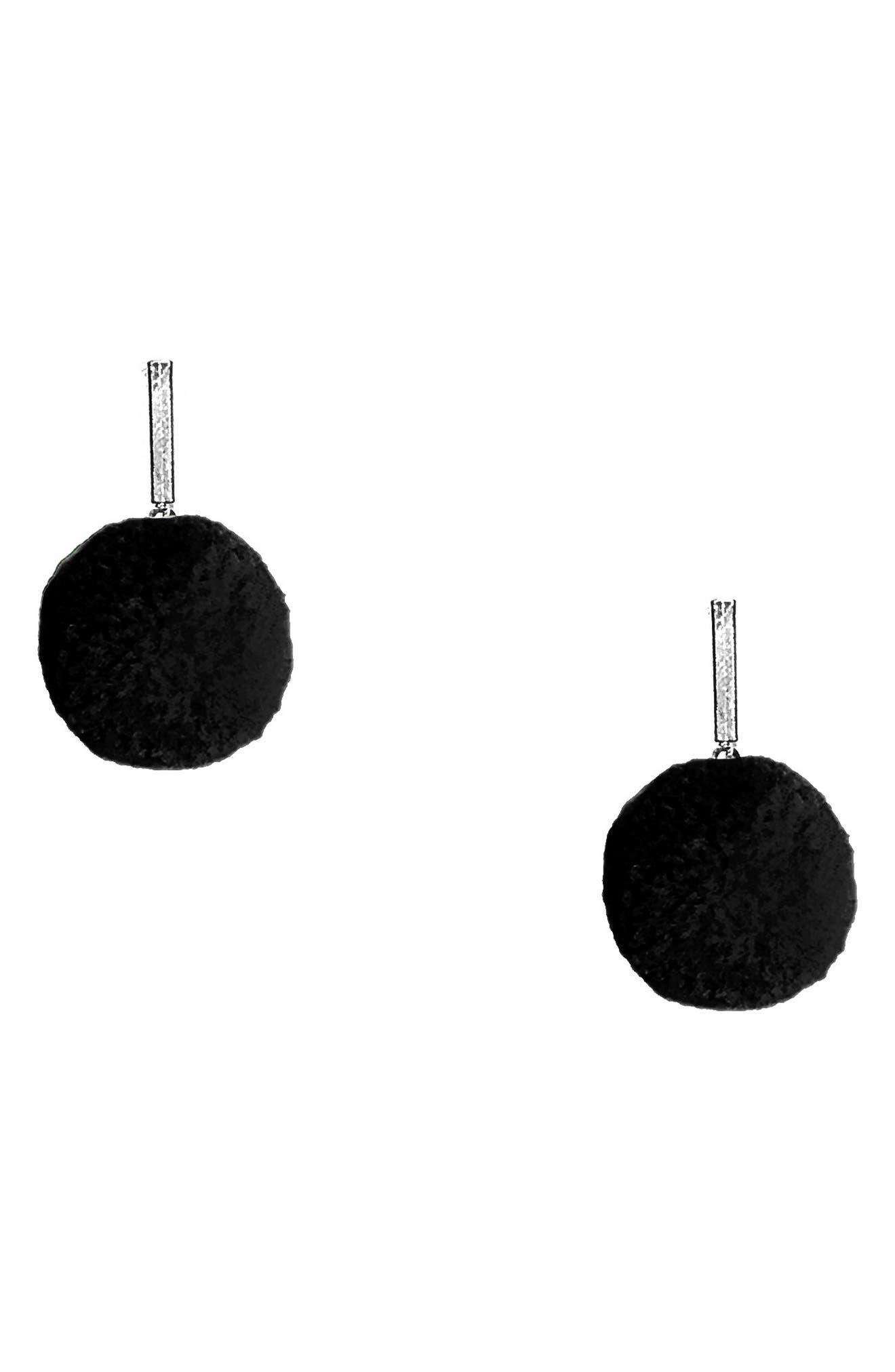 Velvet Pompom Stud Earrings,                             Main thumbnail 2, color,