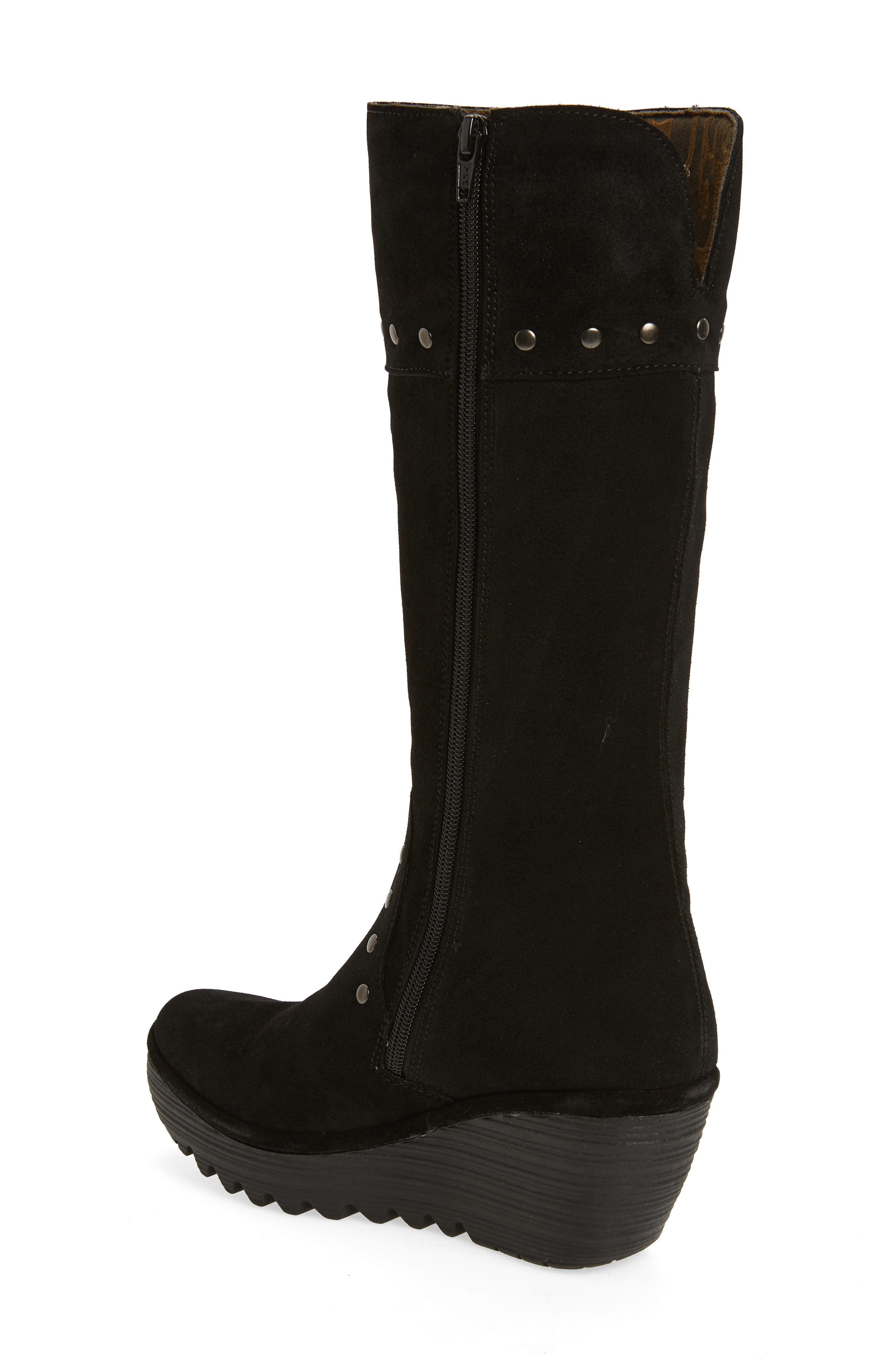 Yota Knee High Boot,                             Alternate thumbnail 2, color,                             BLACK OIL SUEDE