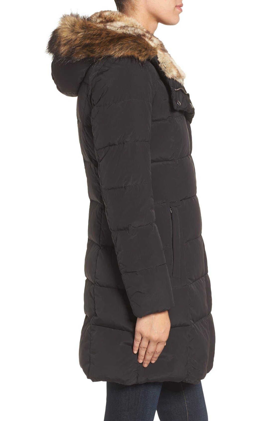Asymmetrical Down Coat with Faux Fur Trim,                             Alternate thumbnail 3, color,                             001