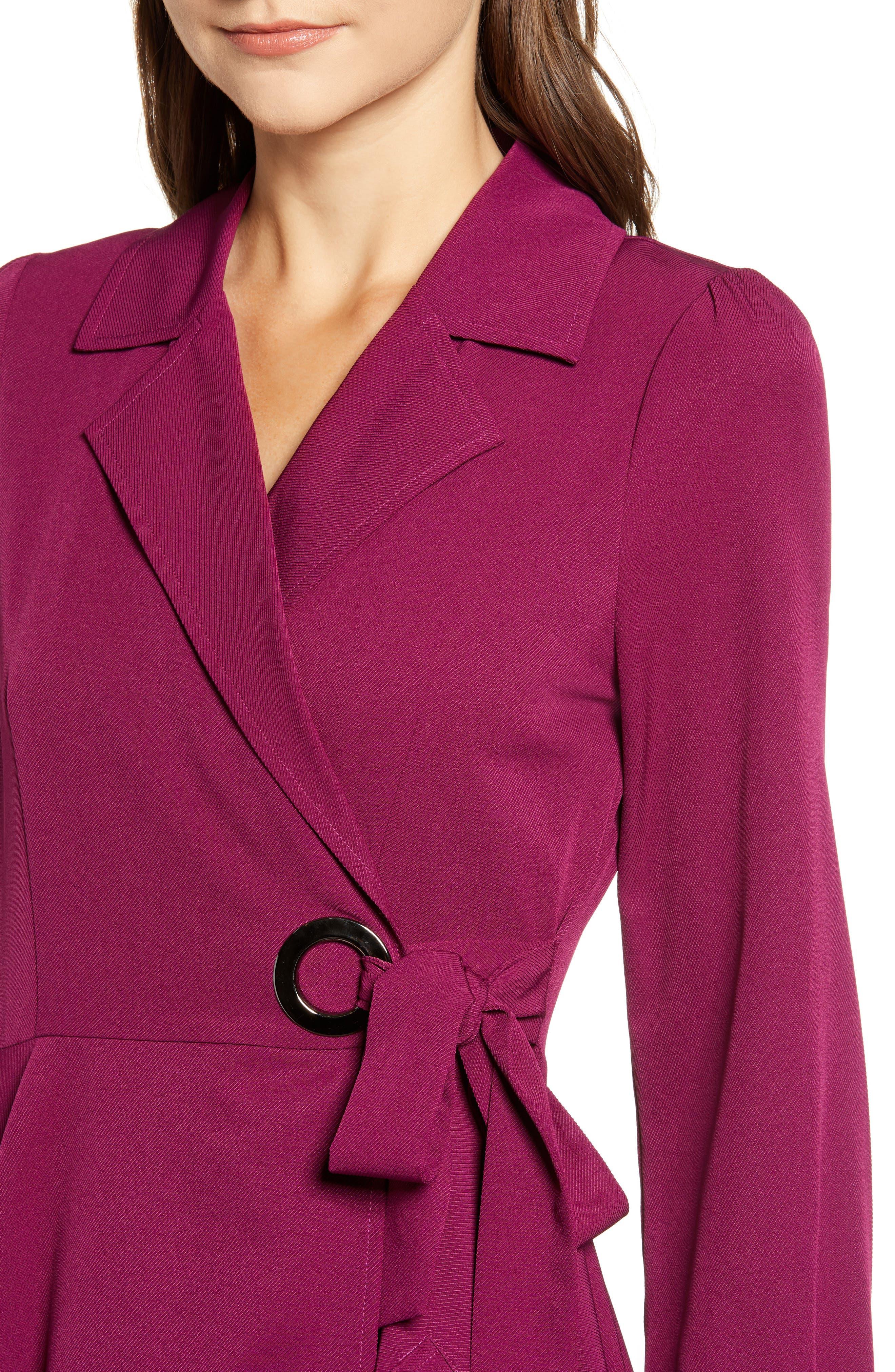 Chriselle Lim Wren Trench Dress,                             Alternate thumbnail 5, color,                             MAGENTA