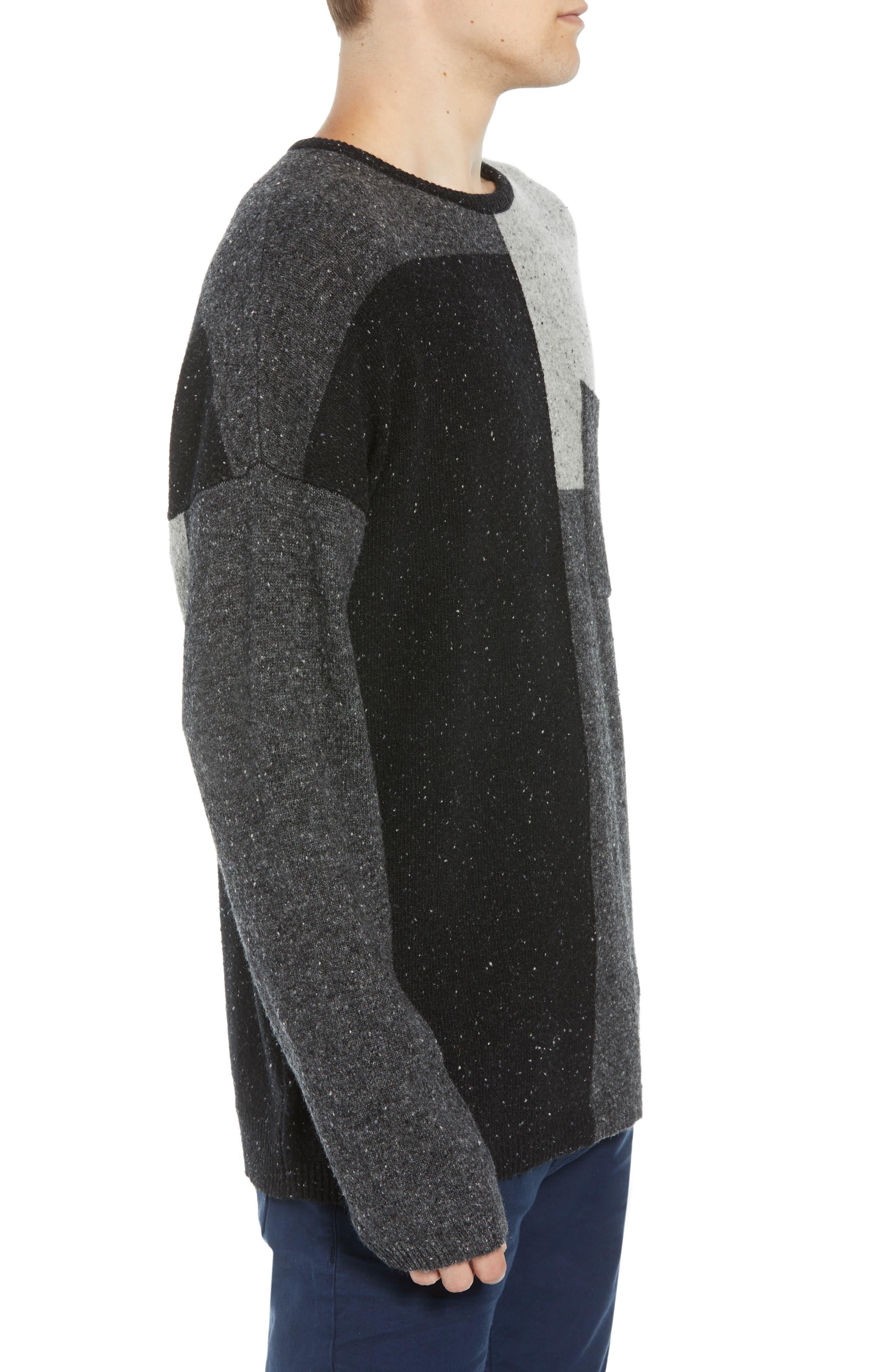 Patchwork Donegal Wool Blend Sweater,                             Alternate thumbnail 3, color,                             LIGHT GREY MELANGE CHARCOAL