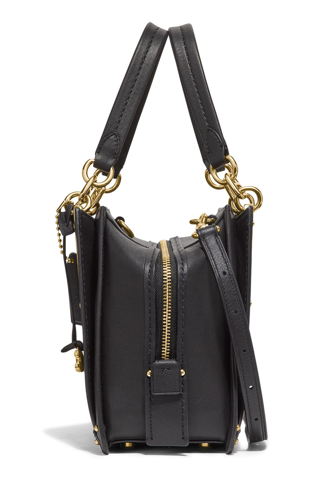 COACH,                             Dreamer Leather Bag,                             Alternate thumbnail 5, color,                             BLACK