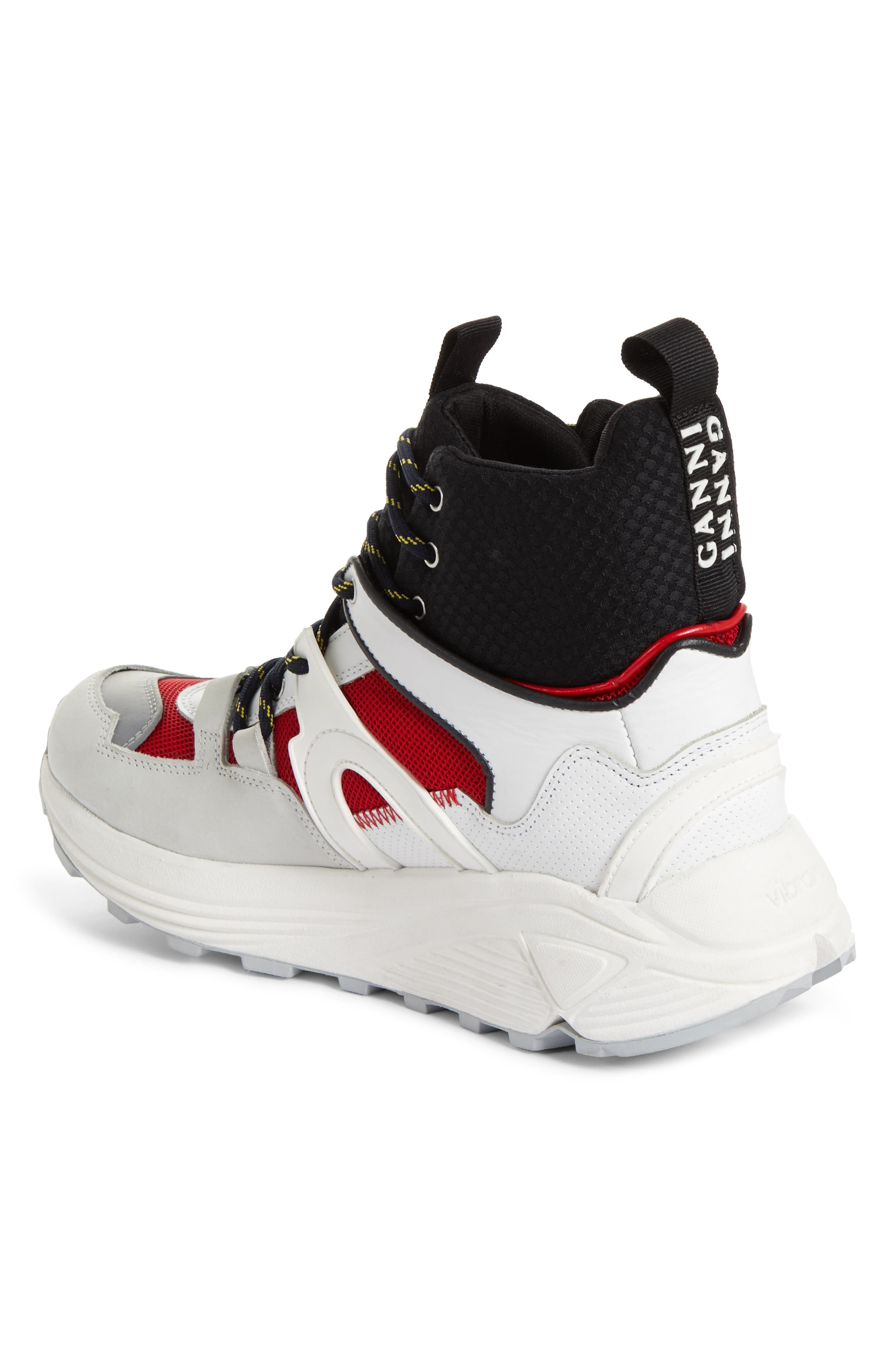 GANNI,                             High Top Tech Sneaker,                             Alternate thumbnail 2, color,                             FIERY RED 403