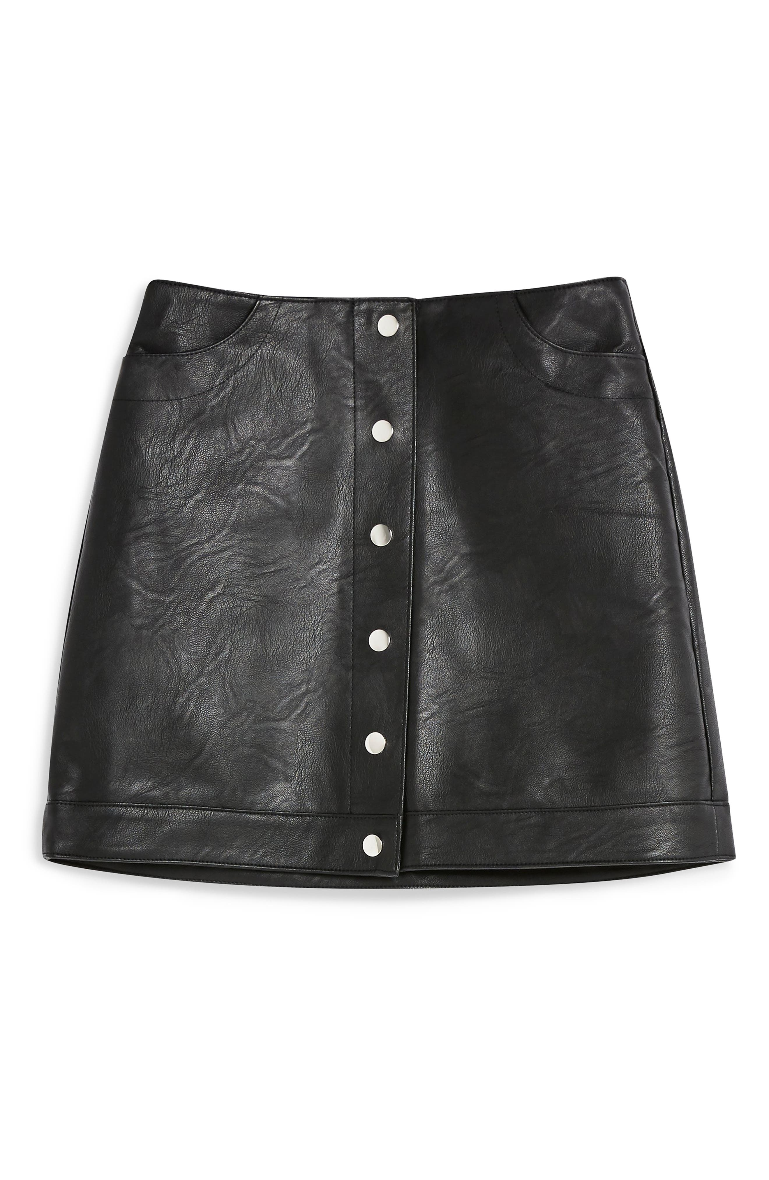 Dixie Faux Leather Miniskirt,                             Alternate thumbnail 4, color,                             BLACK