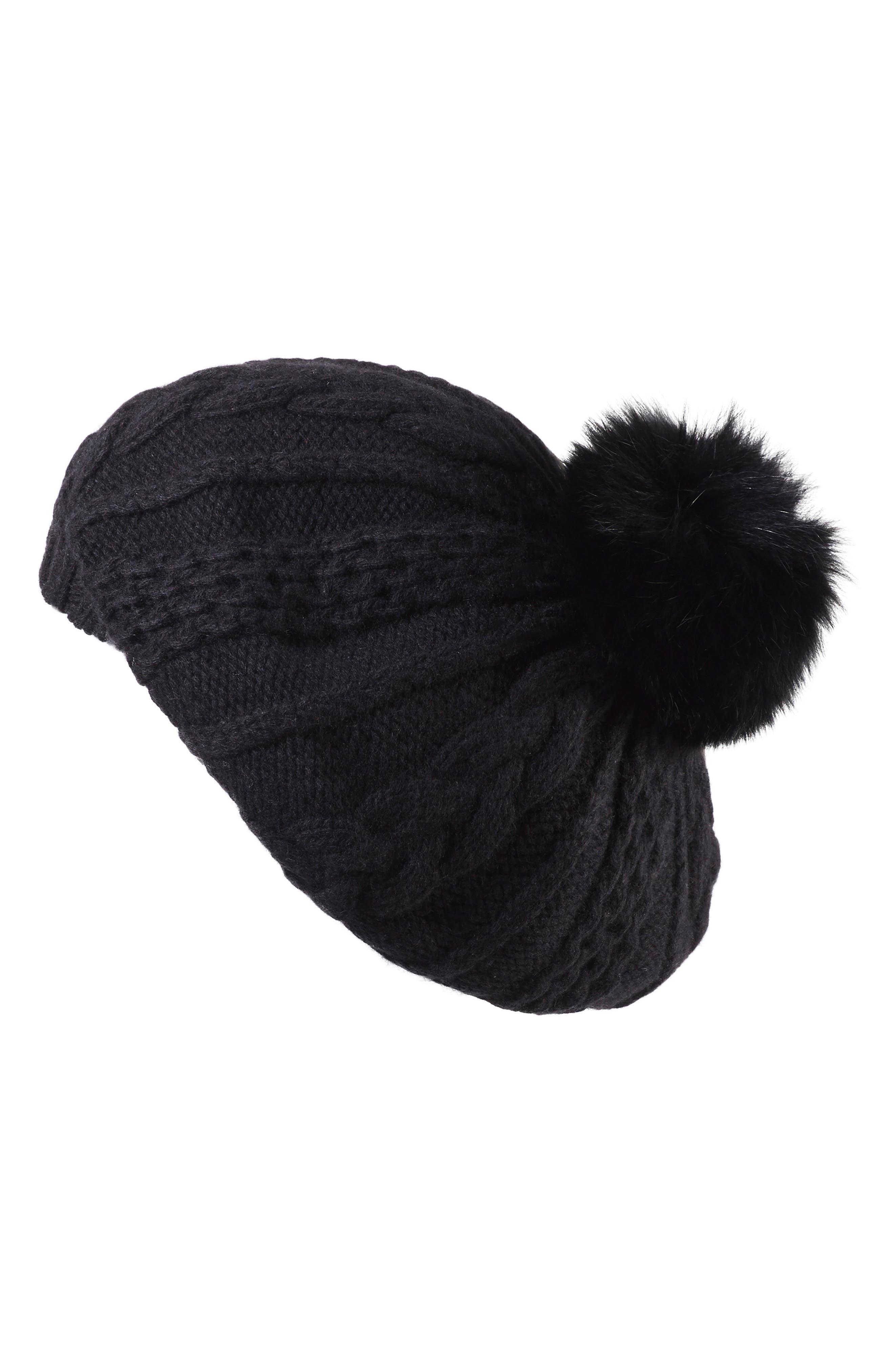 HELEN KAMINSKI Genuine Fox Fur Pompom Cashmere Beret - Black