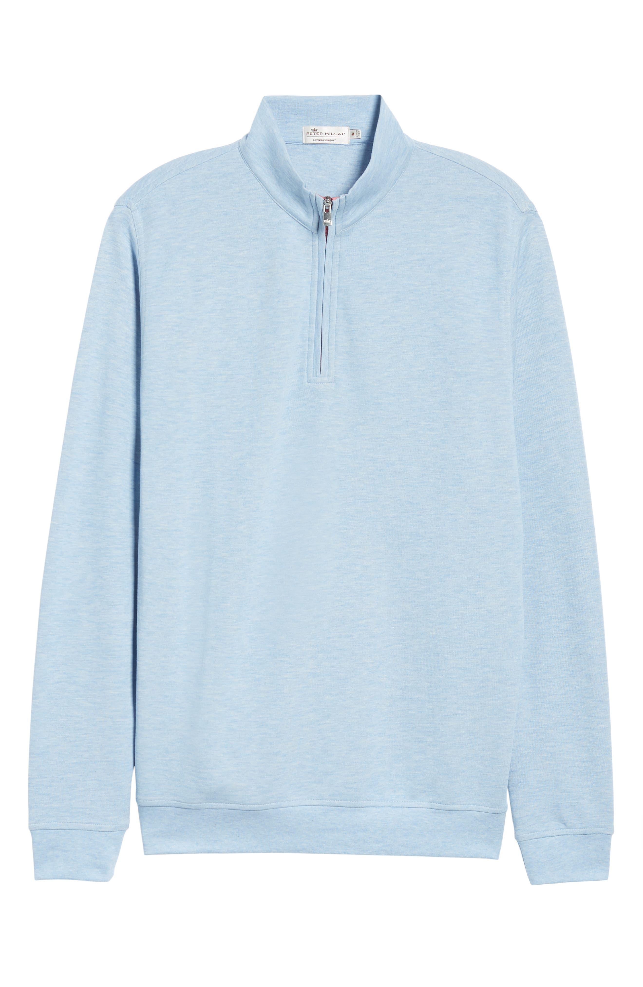 Crown Comfort Jersey Quarter Zip Pullover,                             Alternate thumbnail 6, color,                             COTTAGE BLUE